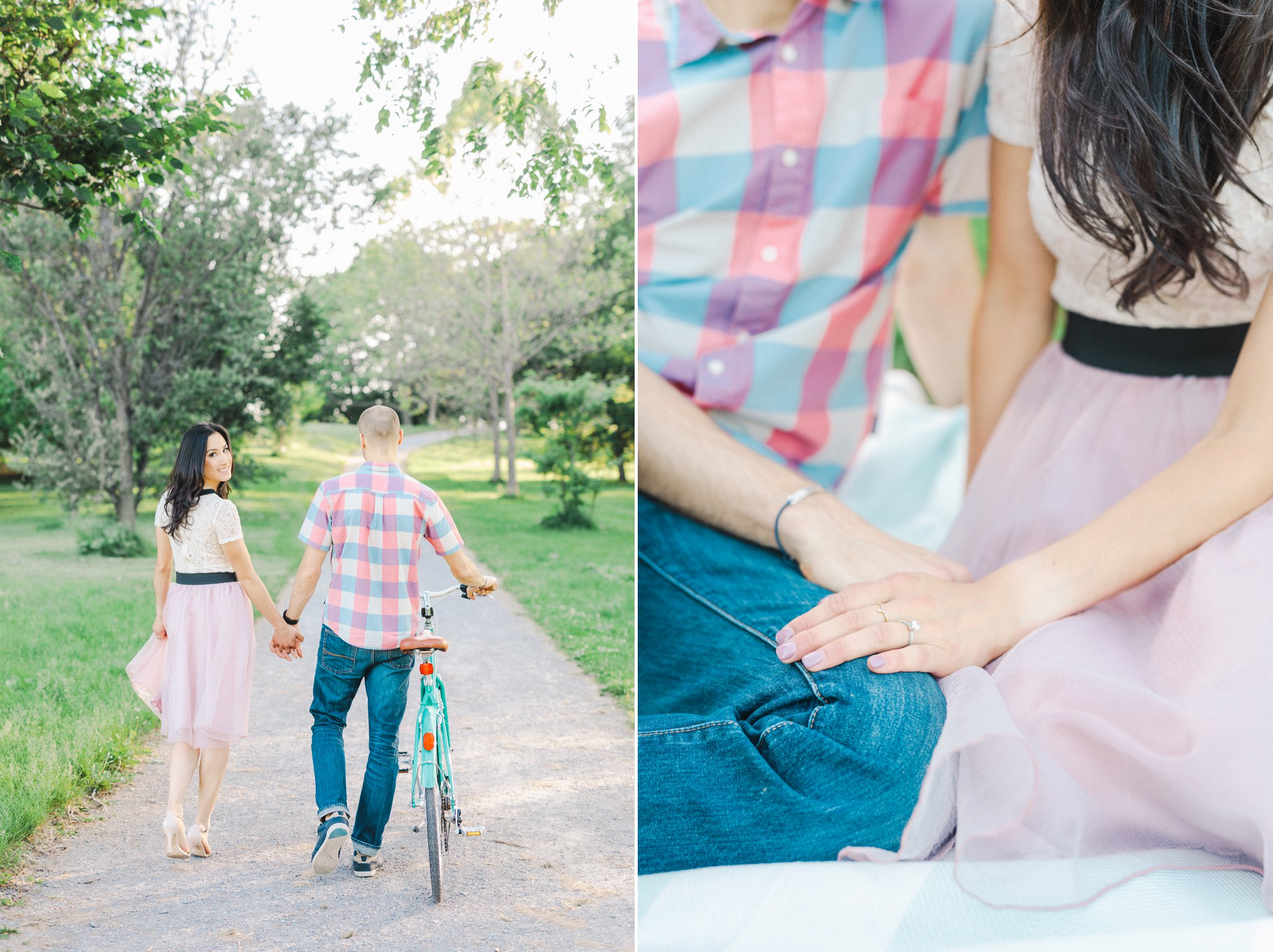 Blush tulle skirt, teal bicycle, bicycle engagement photos in the arboretum, One Fine Beauty, Showpony Hair, Amy Pinder Photography