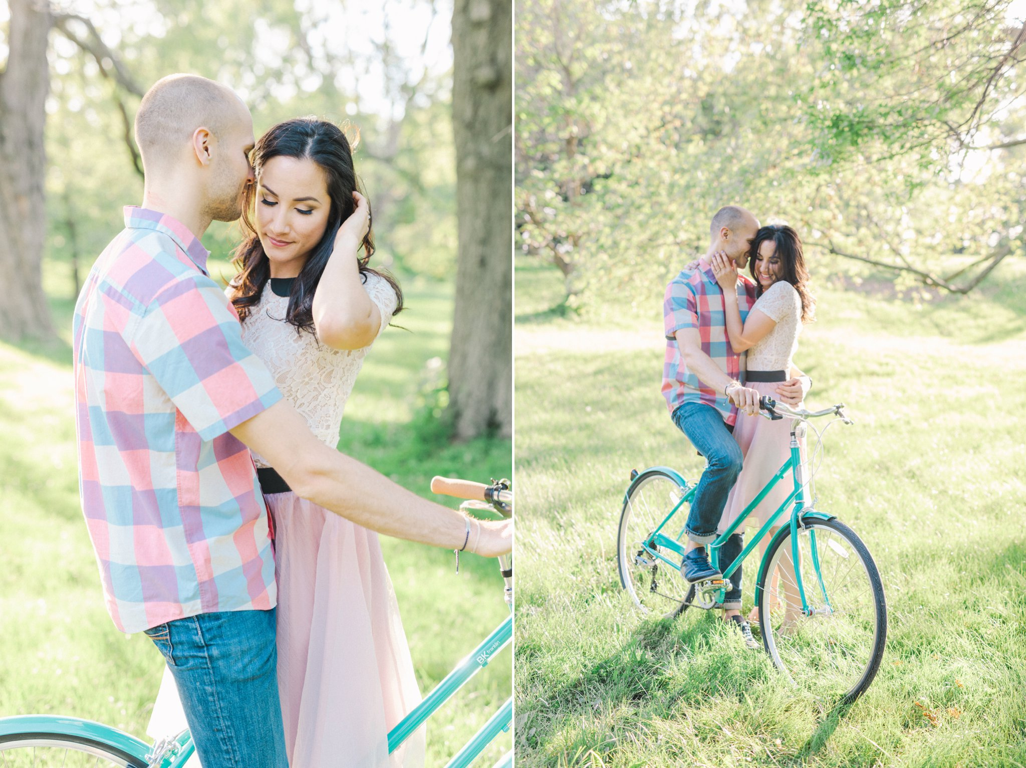 teal bicycle, bicycle engagement photos in the arboretum, One Fine Beauty, Showpony Hair, Amy Pinder Photography