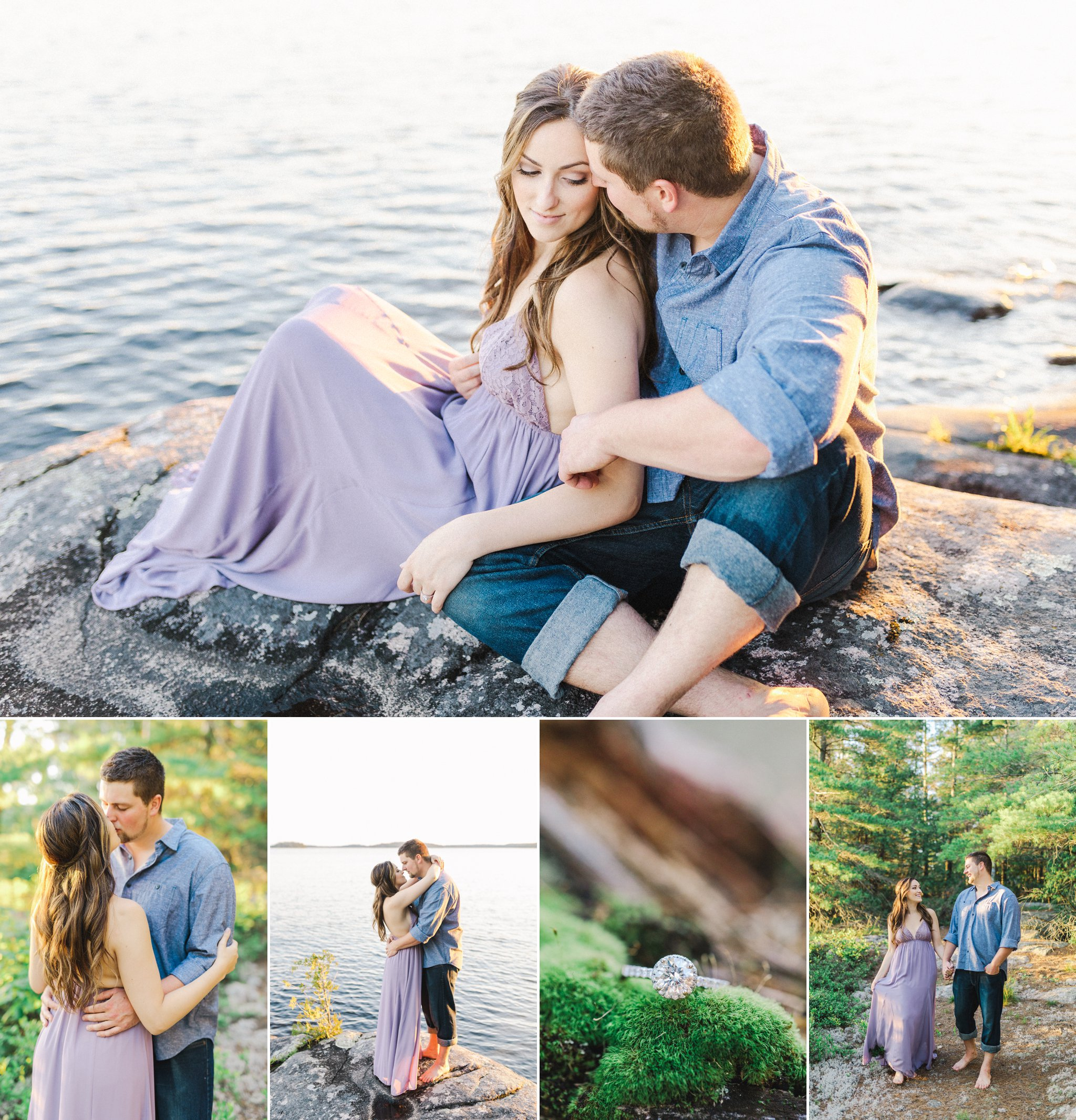 Golden hour portraits at the waterfront Engagement Photos at the Lake, Amy Pinder Photography, Ottawa wedding photographer