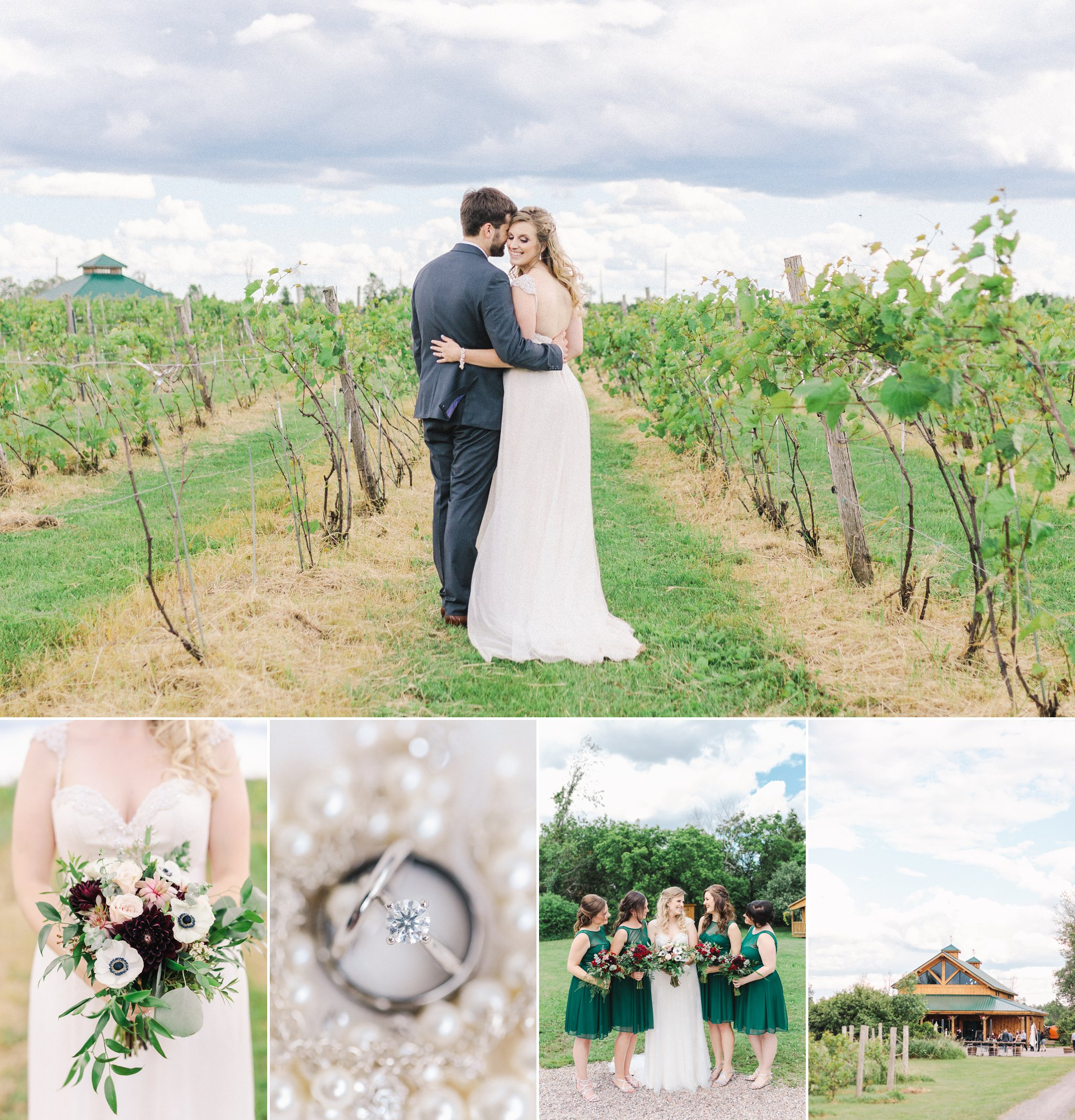 Emerald green bridesmaids dresses at their Jabulani vineyard wedding photos, Amy Pinder Photography, Ottawa wedding photographer