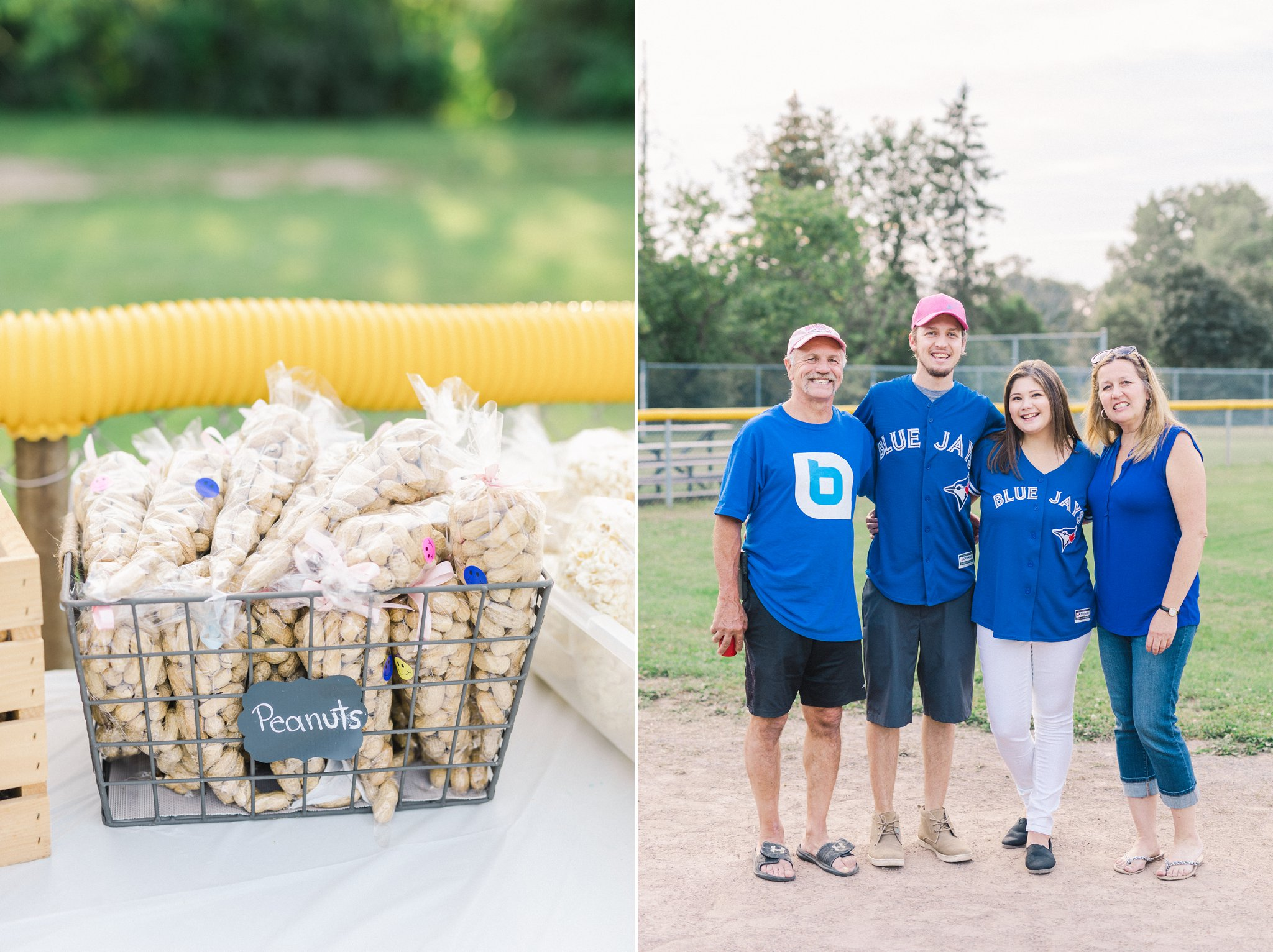 Softball gender reveal party peanuts