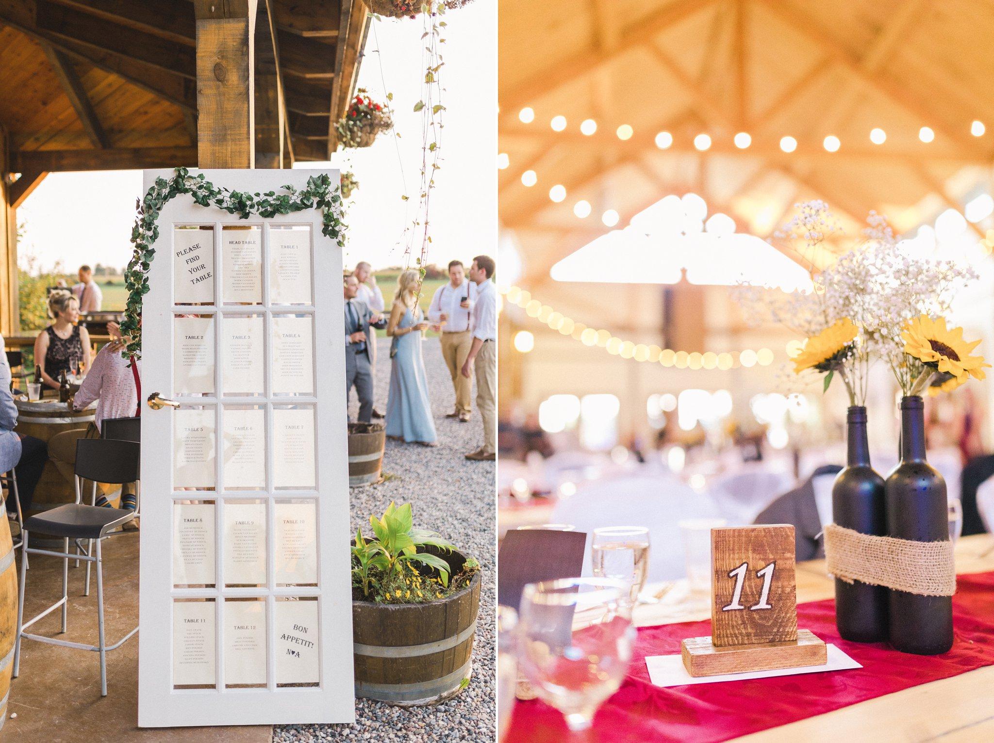 Seating chart door Ontario vineyard wedding