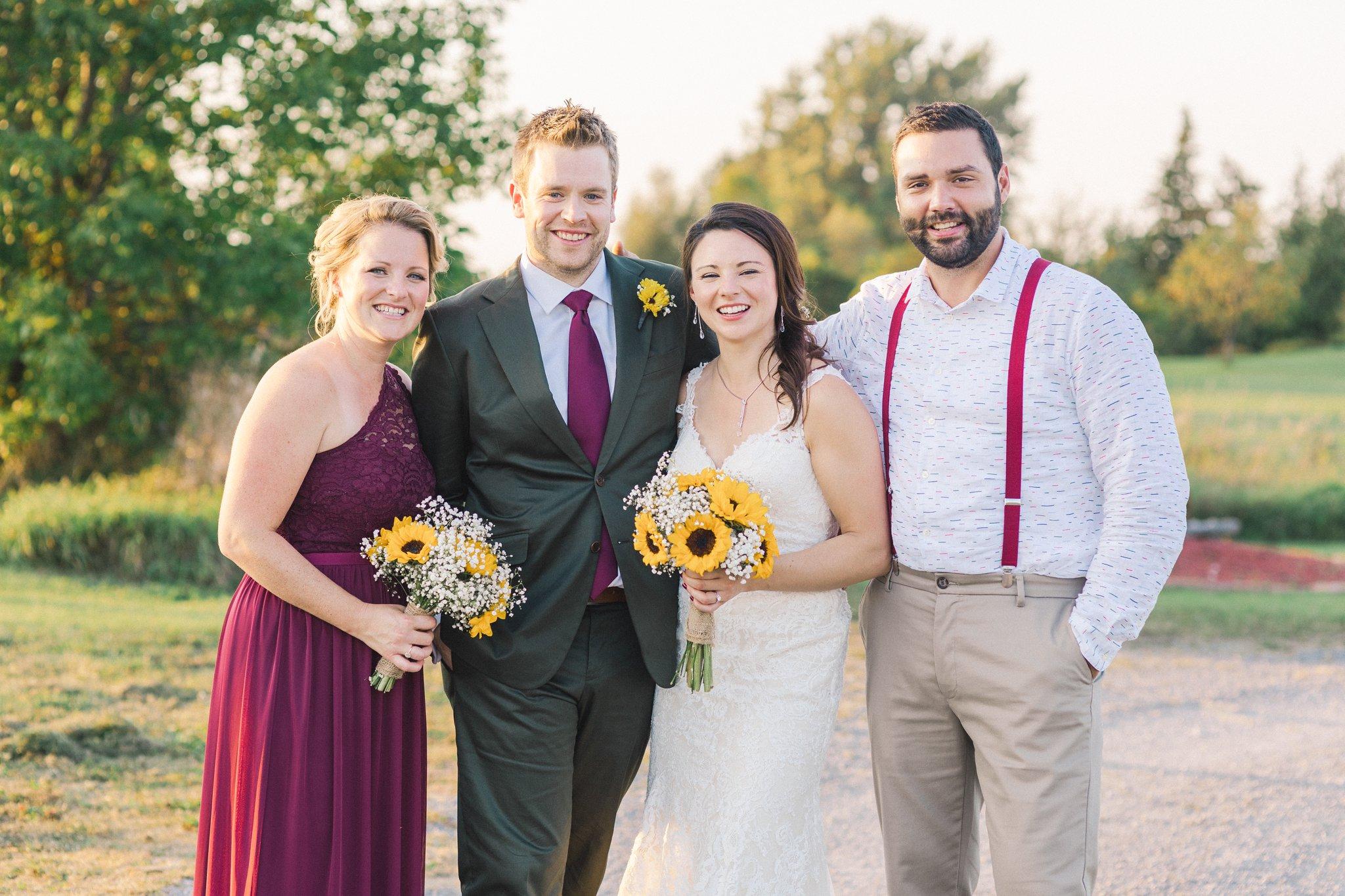 Sunflower bouquet at Ontario vineyard wedding