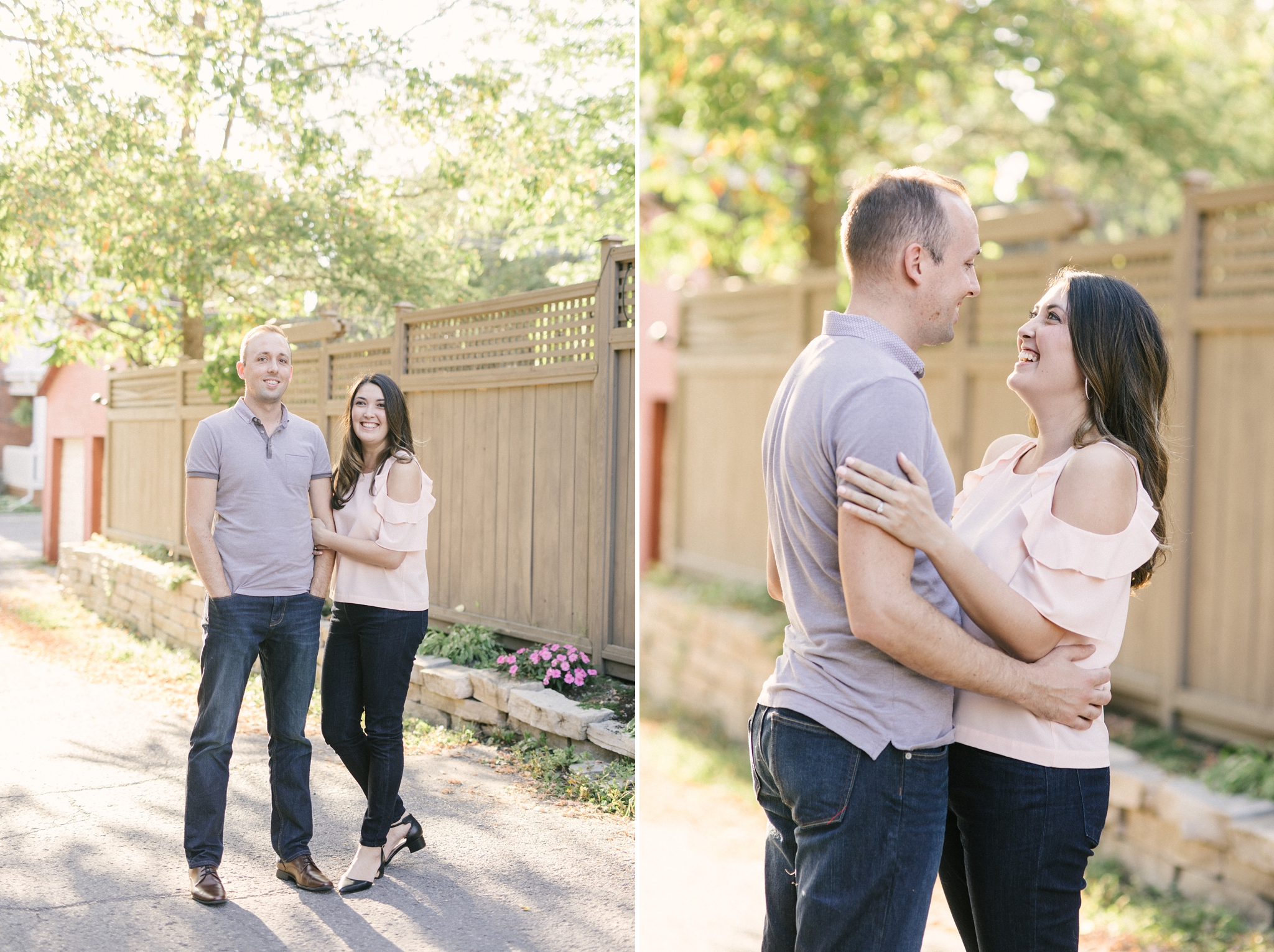 Hintonburg engagement photos cold shoulder top
