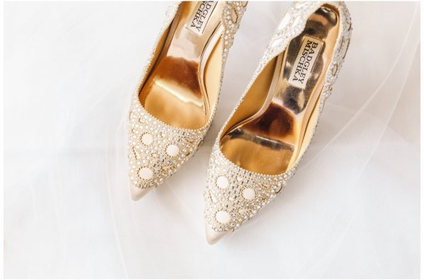 beige Badgley Mischka wedding heels with crystals