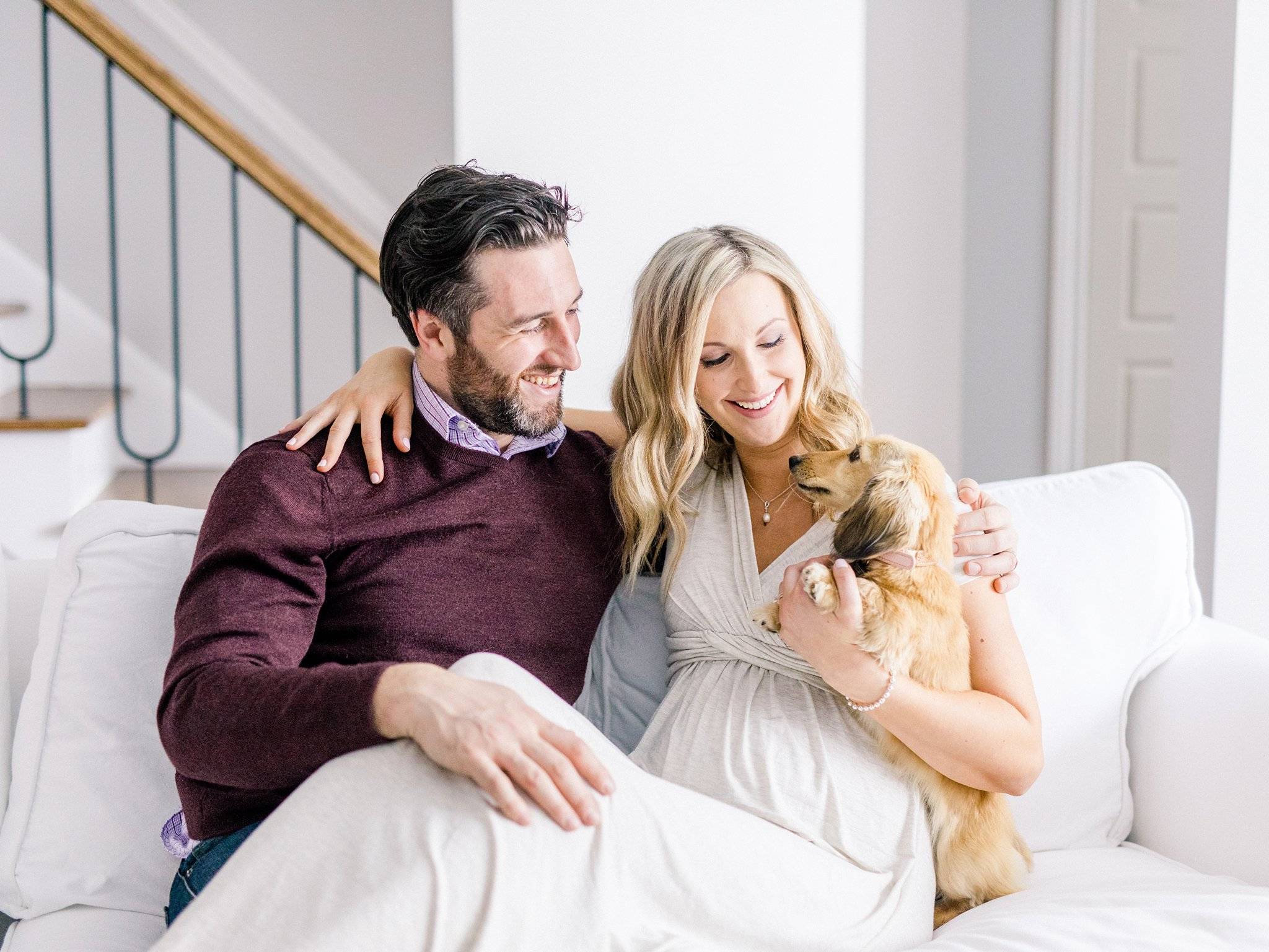 Cream coloured wiener dog lifestyle maternity photos Ottawa