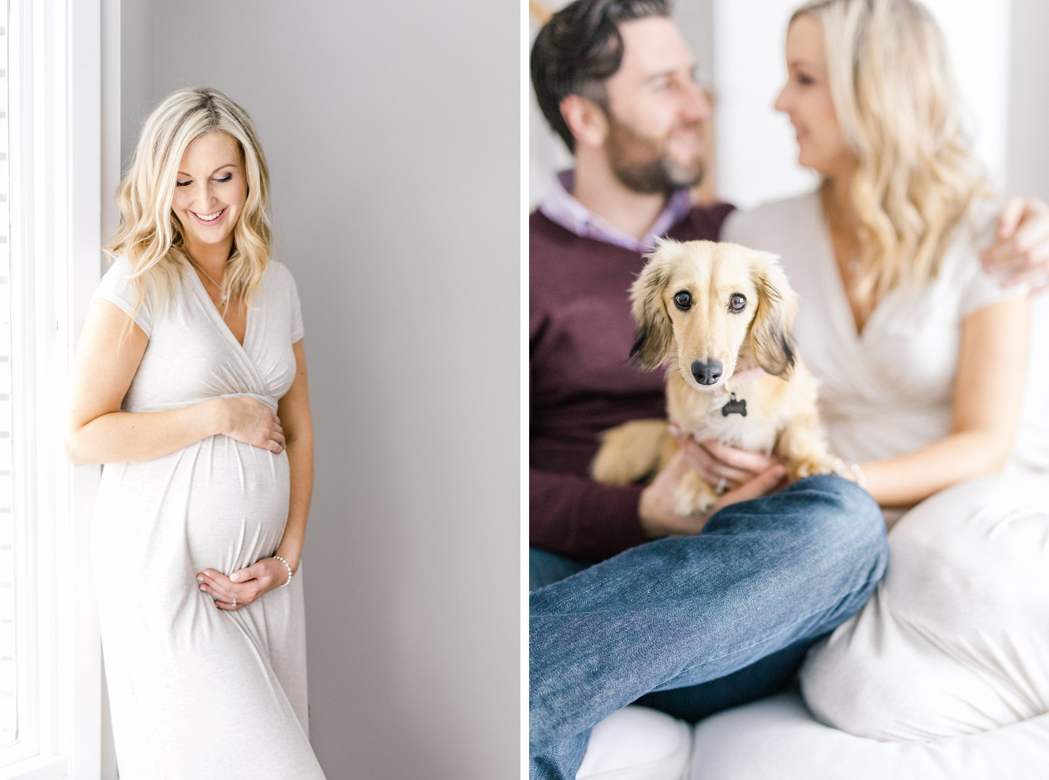 Dog cuddles lifestyle maternity photos Ottawa