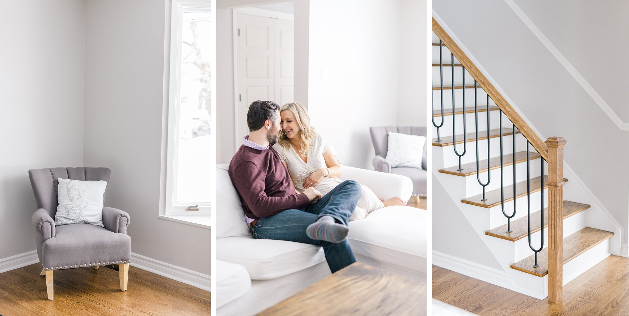 Modern home decor light and airy lifestyle maternity photos Ottawa