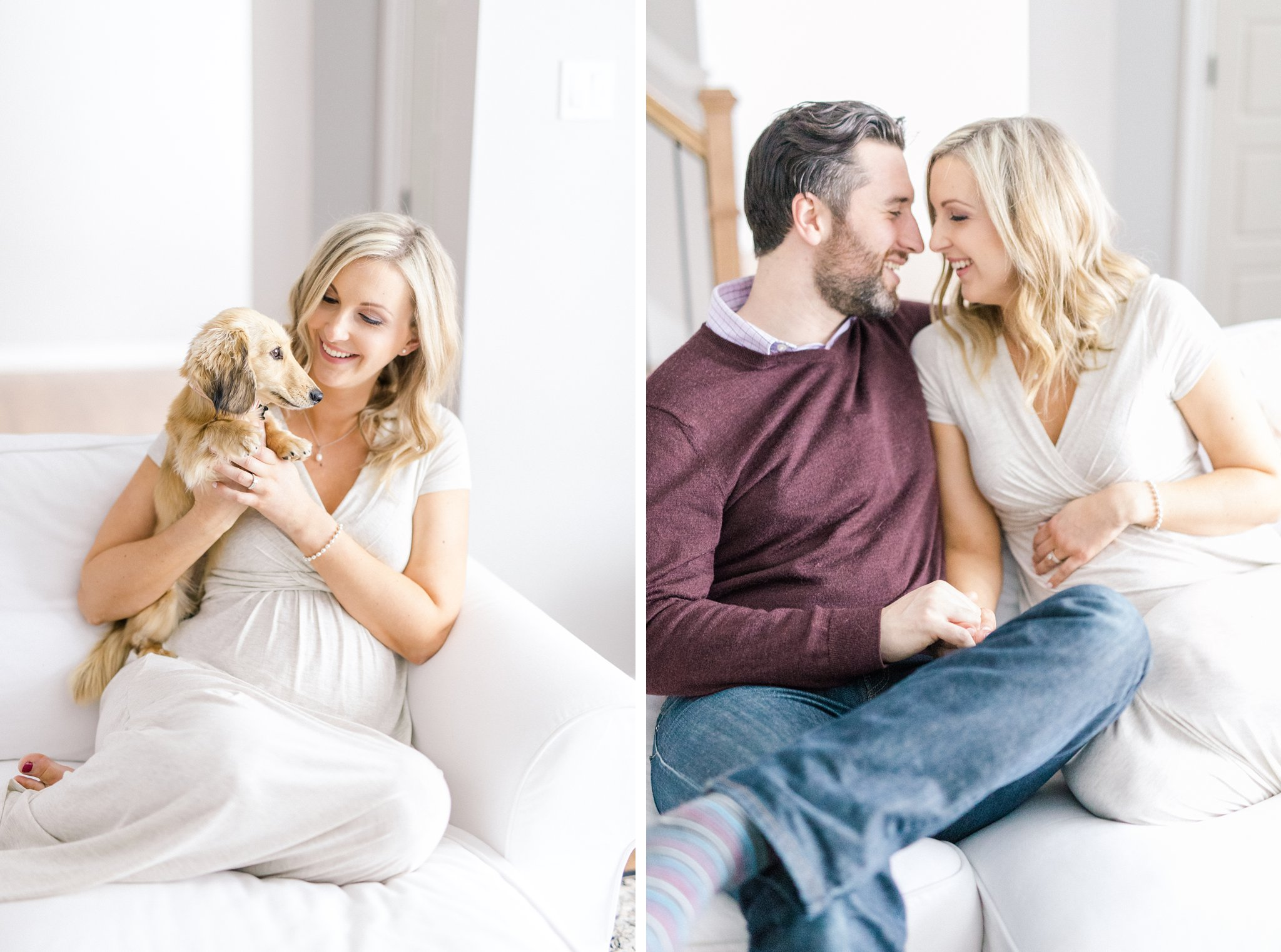 lifestyle maternity photos Ottawa with a wiener dog