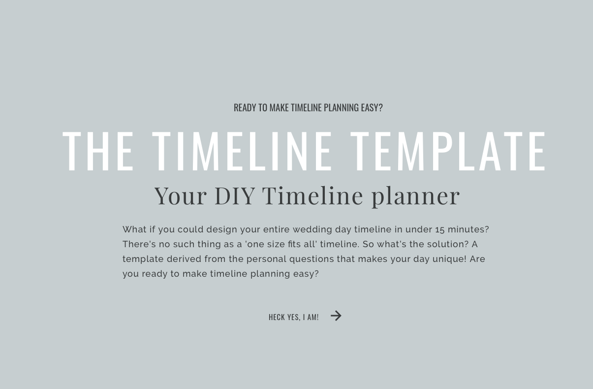 The Timeline Template - how to plan wedding day timeline