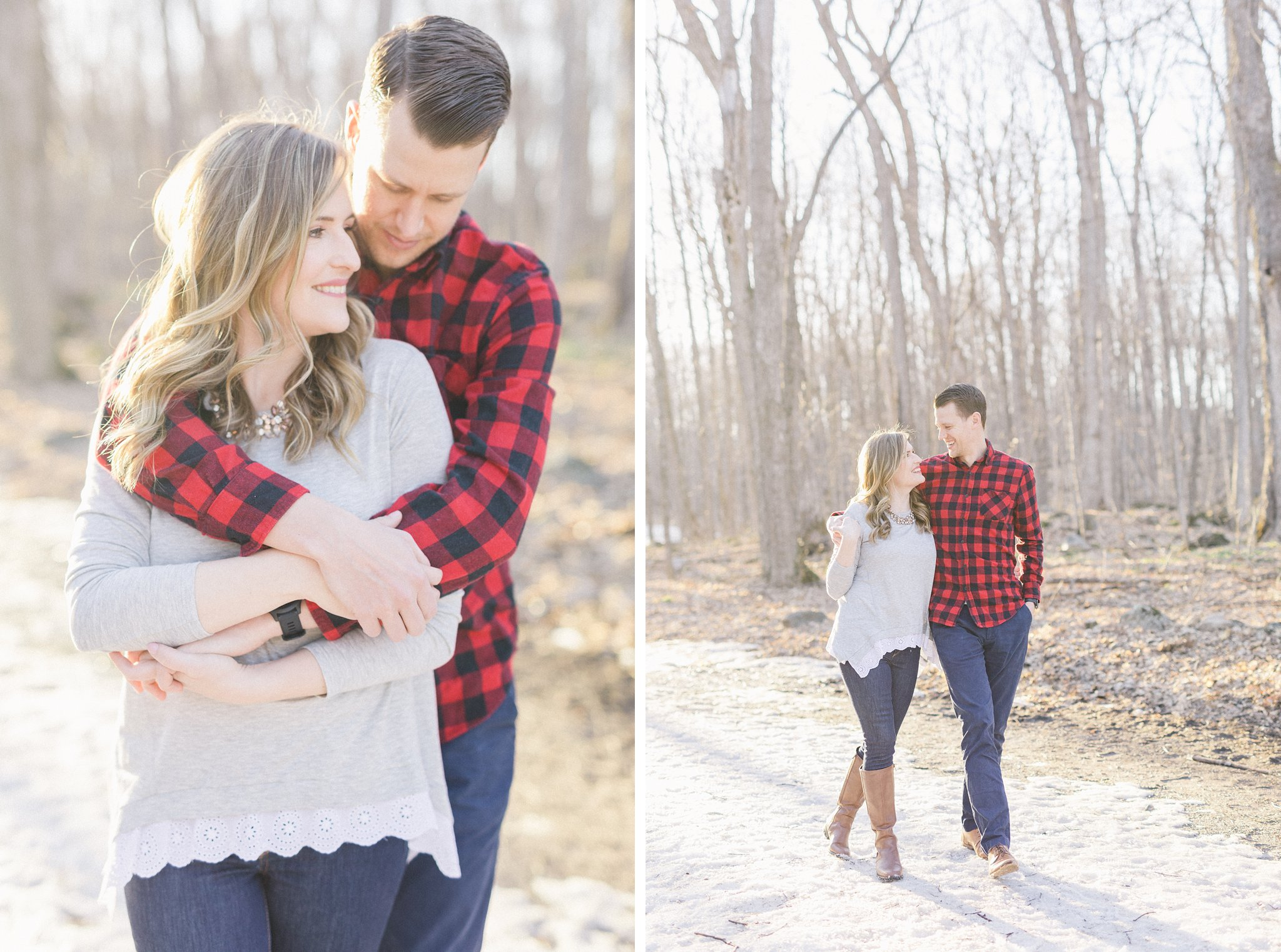 Fall boots red plaid Gatineau Park engagement photos