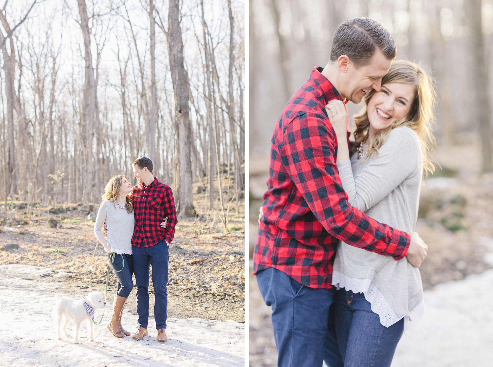 Gatineau Park engagement photos with red plaid shirt