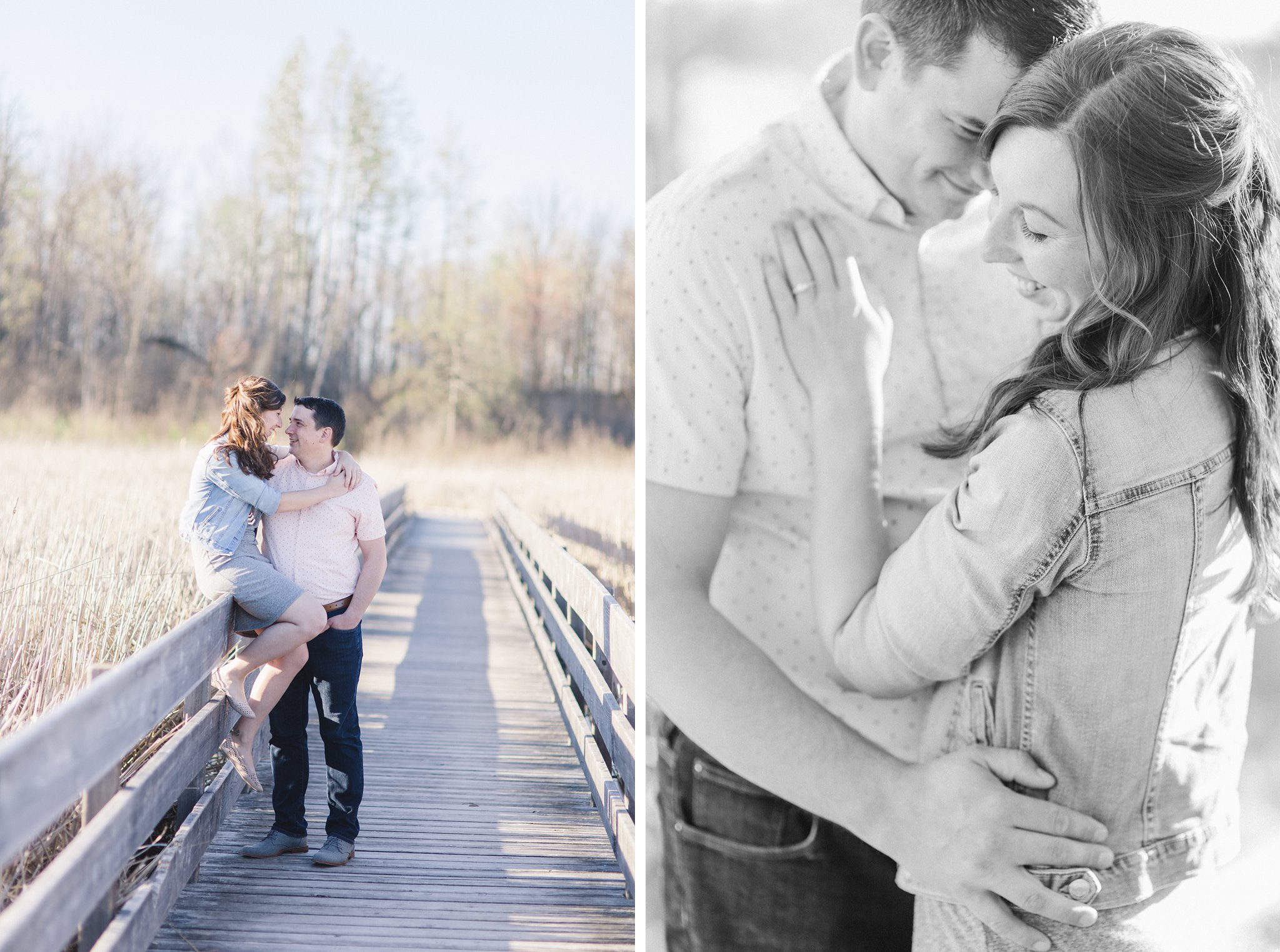 Outdoor engagement Ottawa Mer Bleue Boardwalk Engagement Photos Amy Pinder Photography