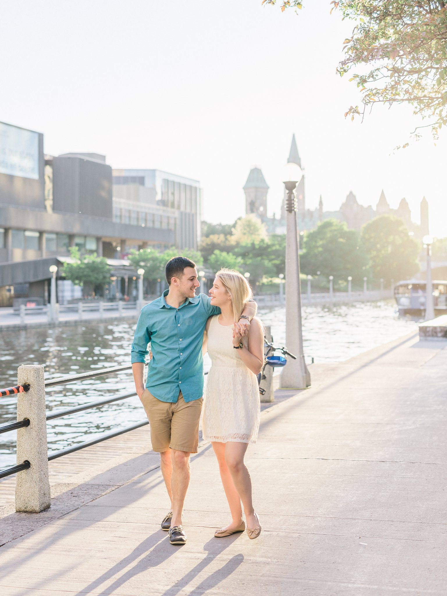 Walking canal path Summer Ottawa University engagement photos