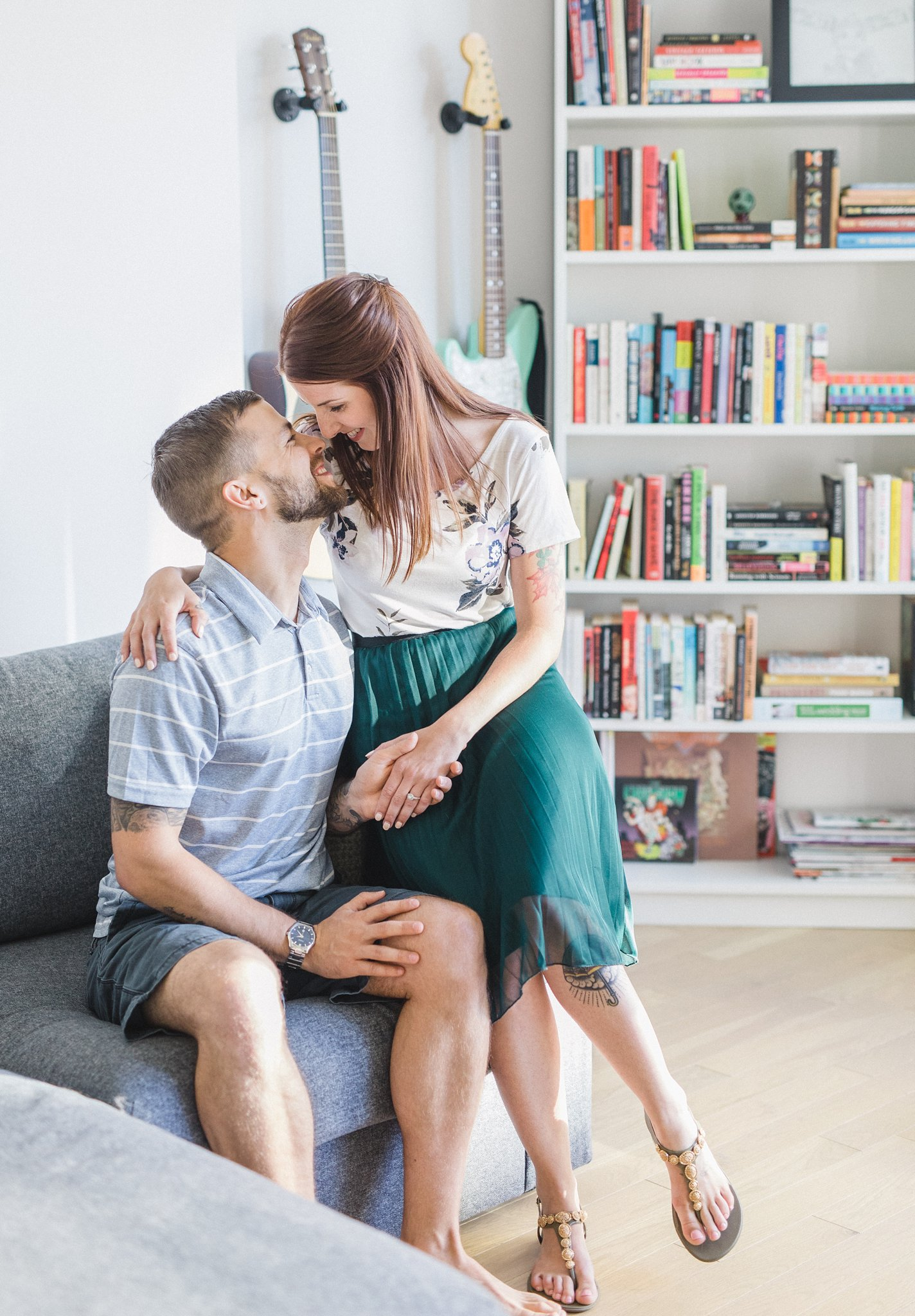 Minimalist colourful bookcase condo engagement photos Hintonburg Ottawa