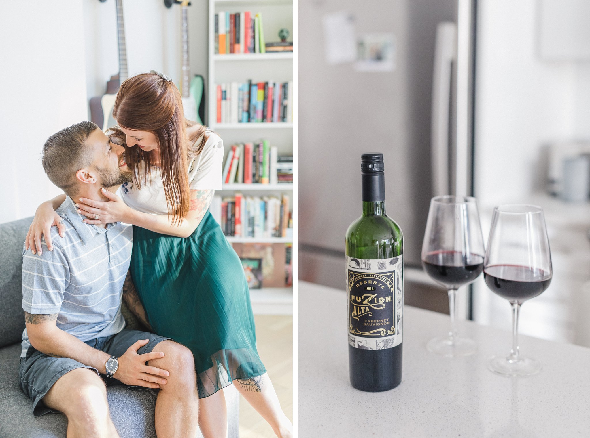 Glass of wine condo engagement photos Hintonburg Ottawa