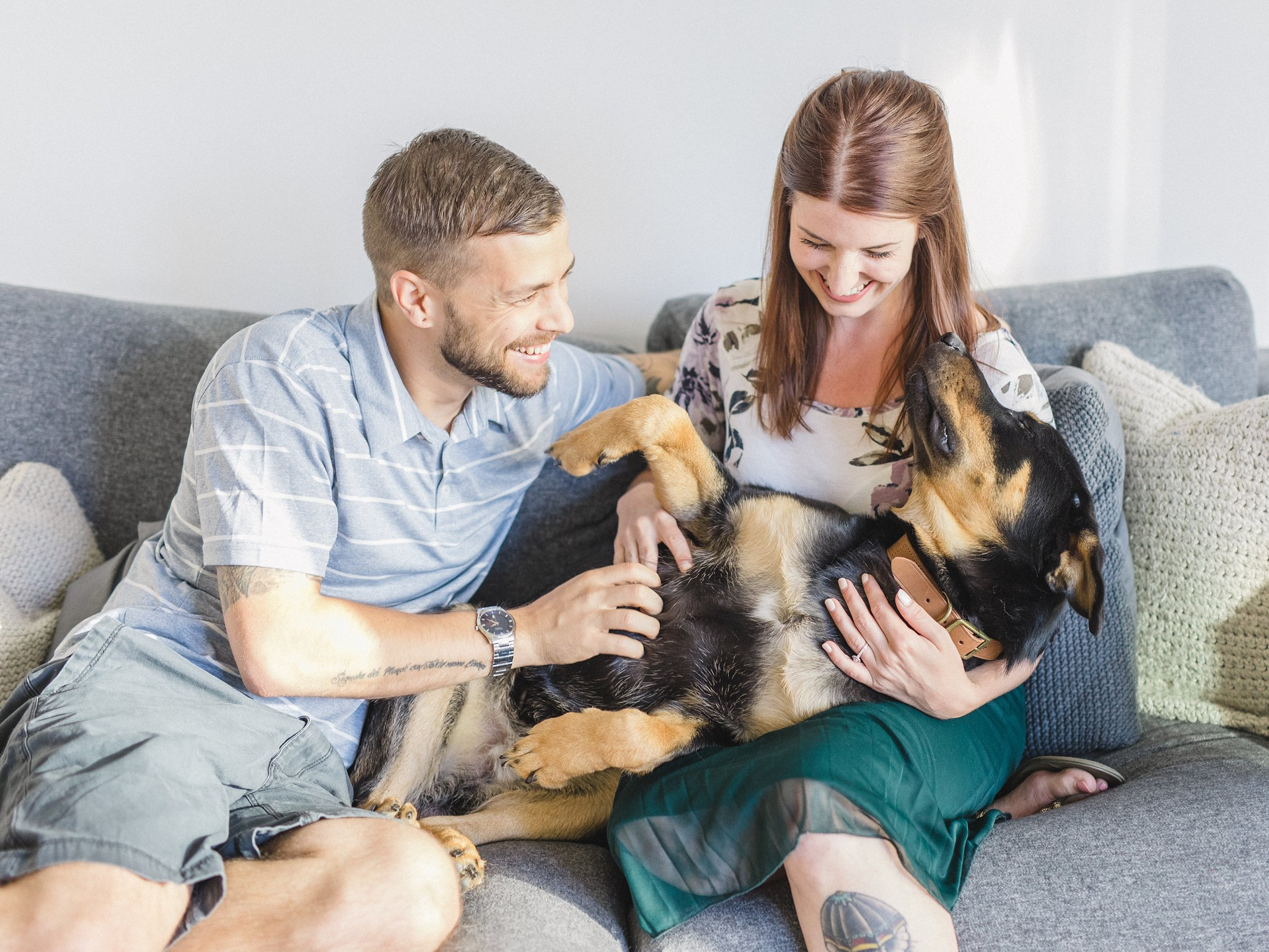 Puppy on couch condo engagement photos Hintonburg Ottawa