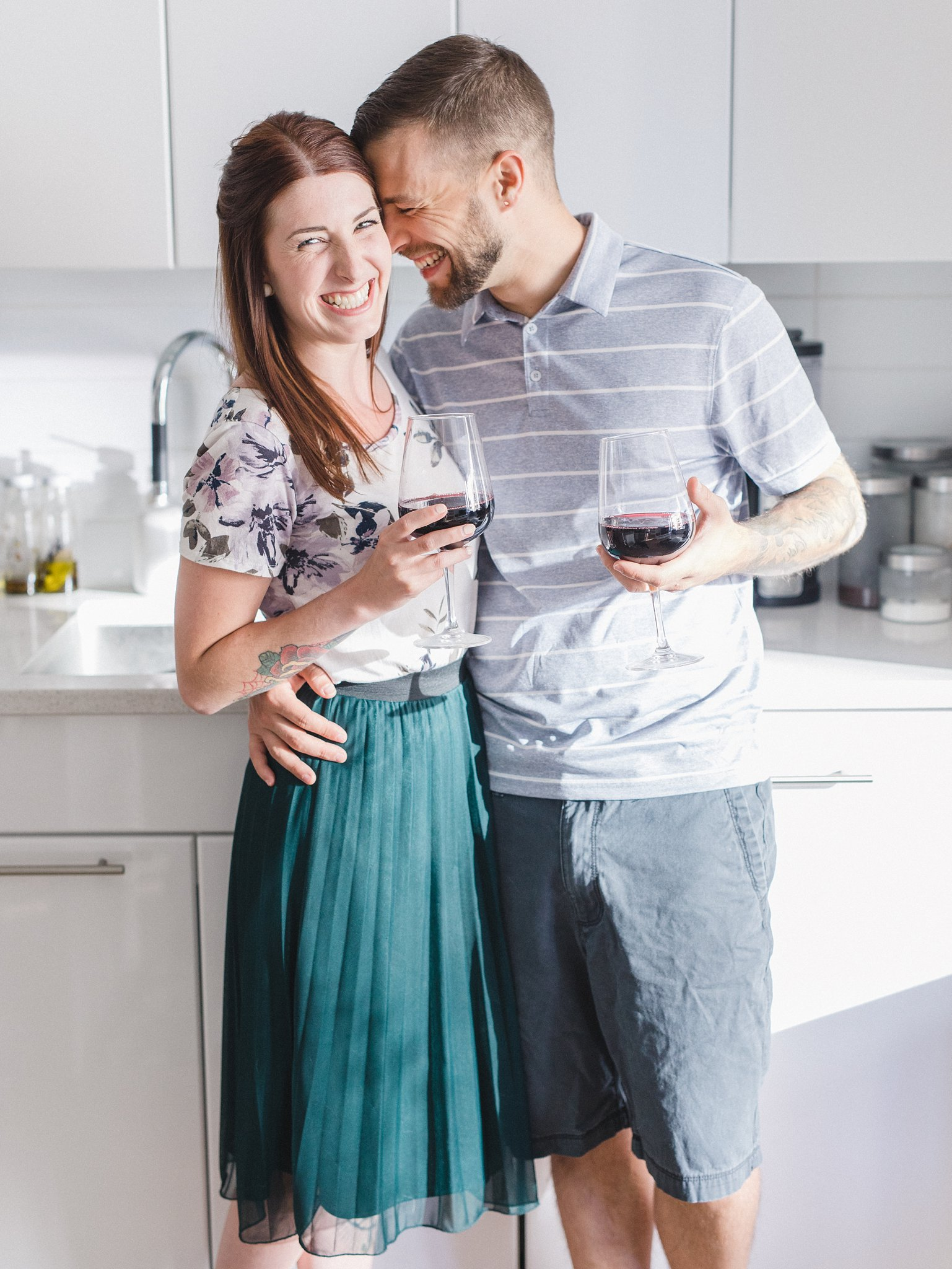 White minimalist kitchen decor condo engagement photos Hintonburg Ottawa