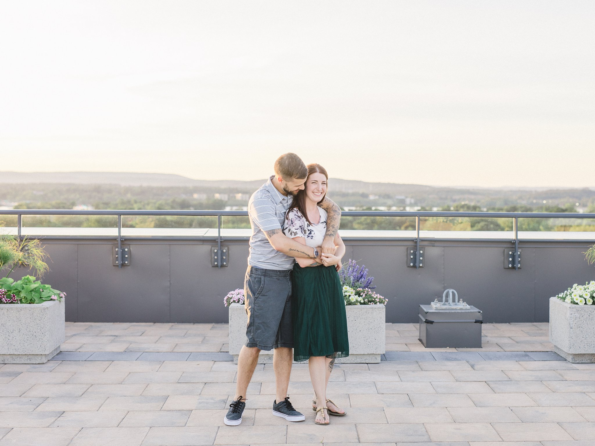 Rooftop patio condo engagement photos Hintonburg Ottawa