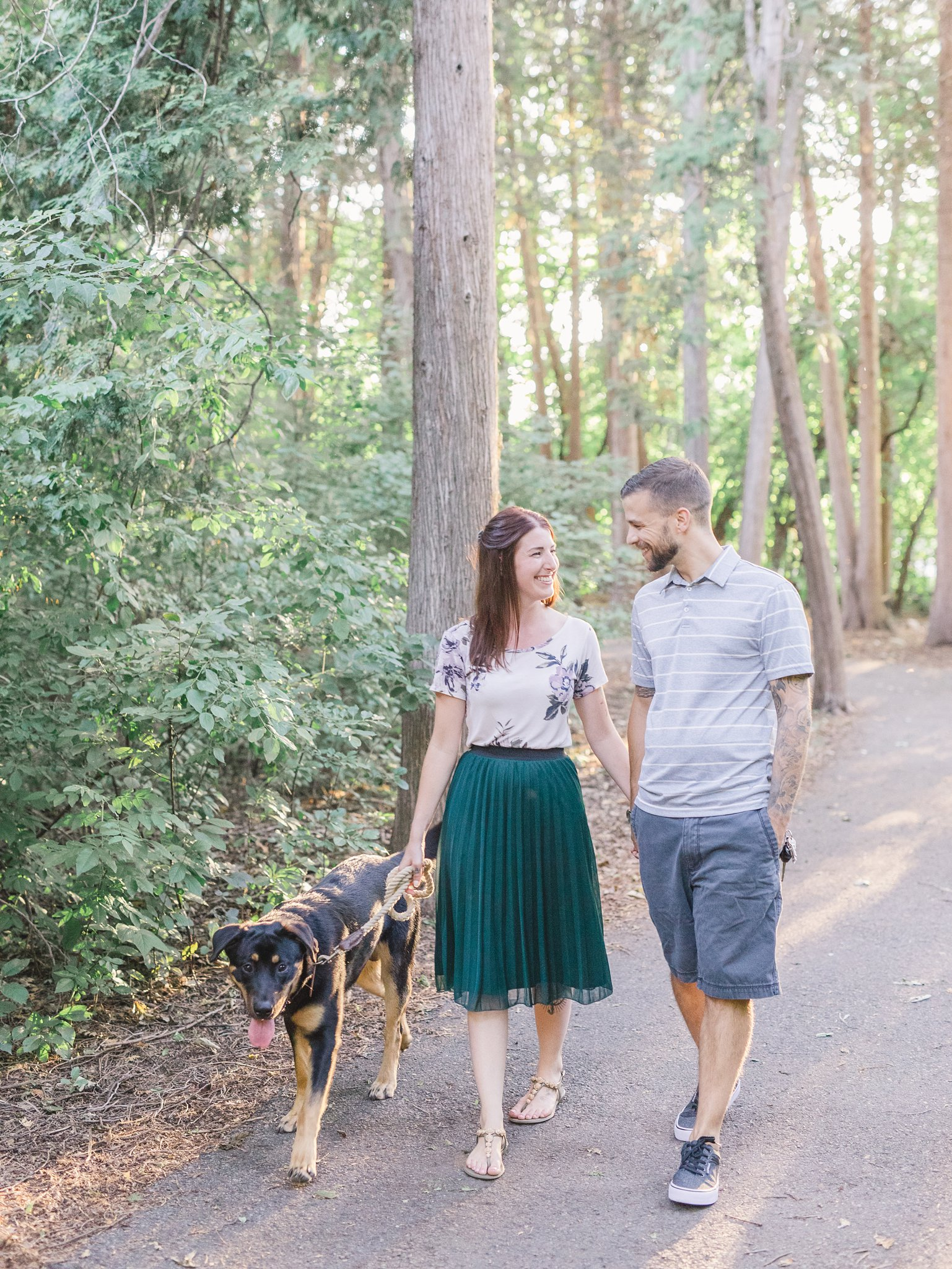 Dog walk path Hintonburg condo engagement photos Ottawa