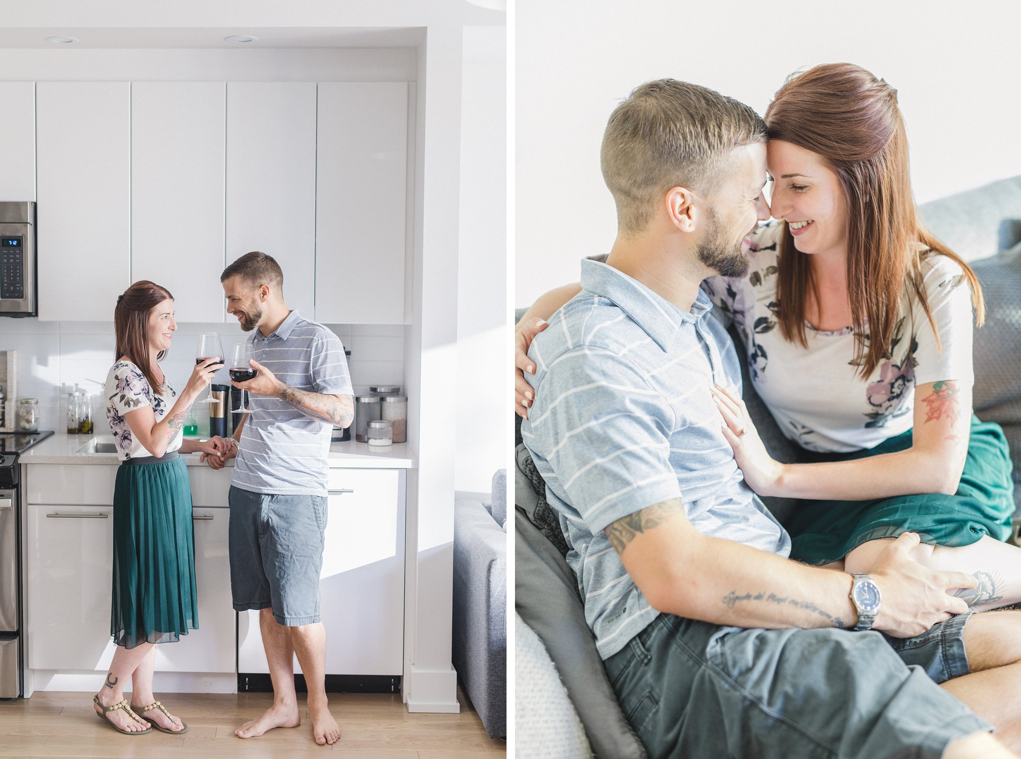Lifestyle home condo engagement photos Hintonburg Ottawa