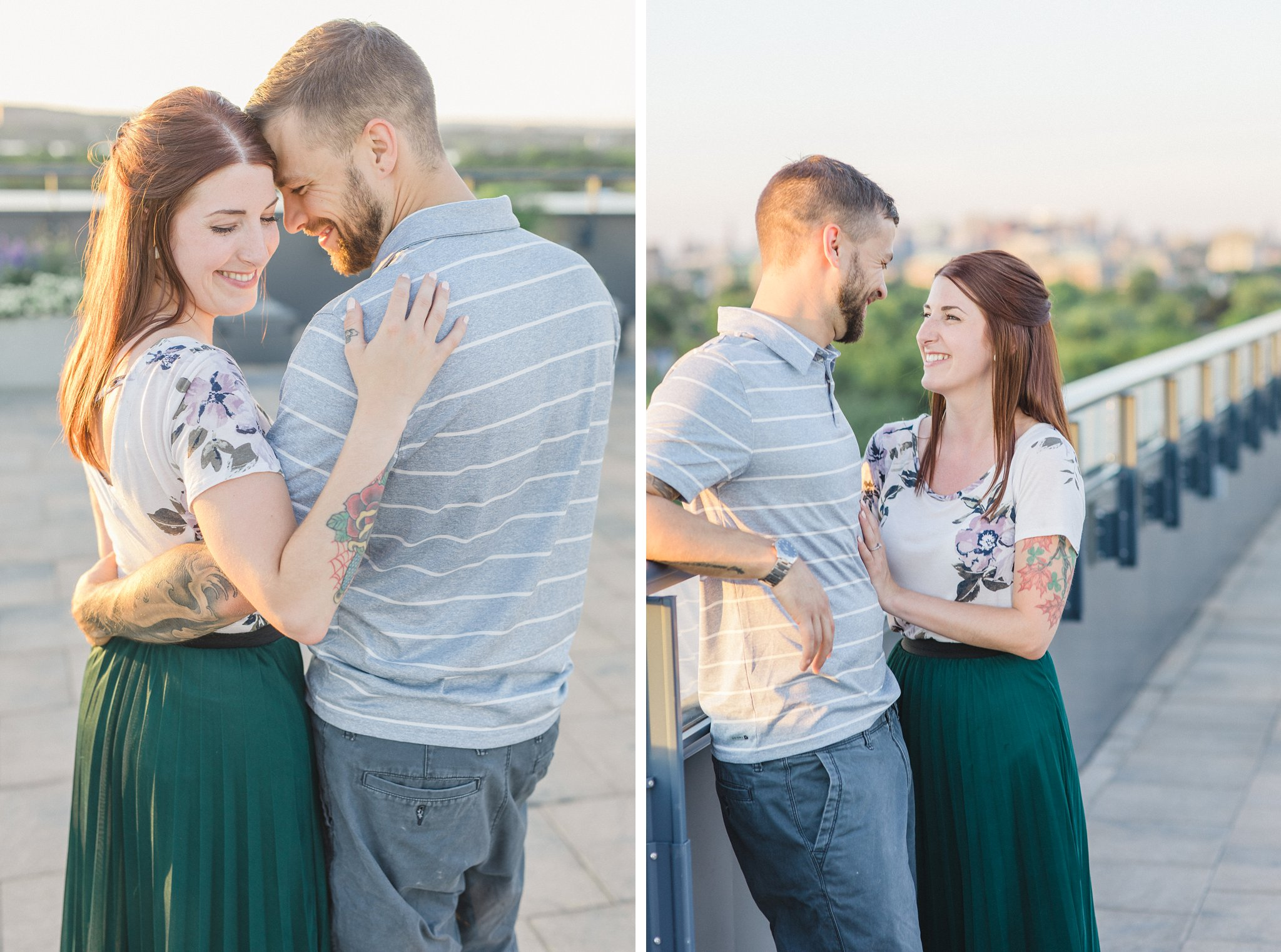 Rooftop terrace condo engagement photos Hintonburg Ottawa