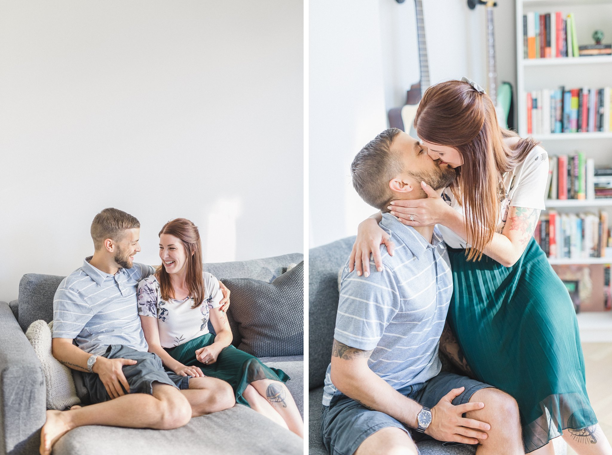 Lifestyle couch condo engagement photos Hintonburg Ottawa