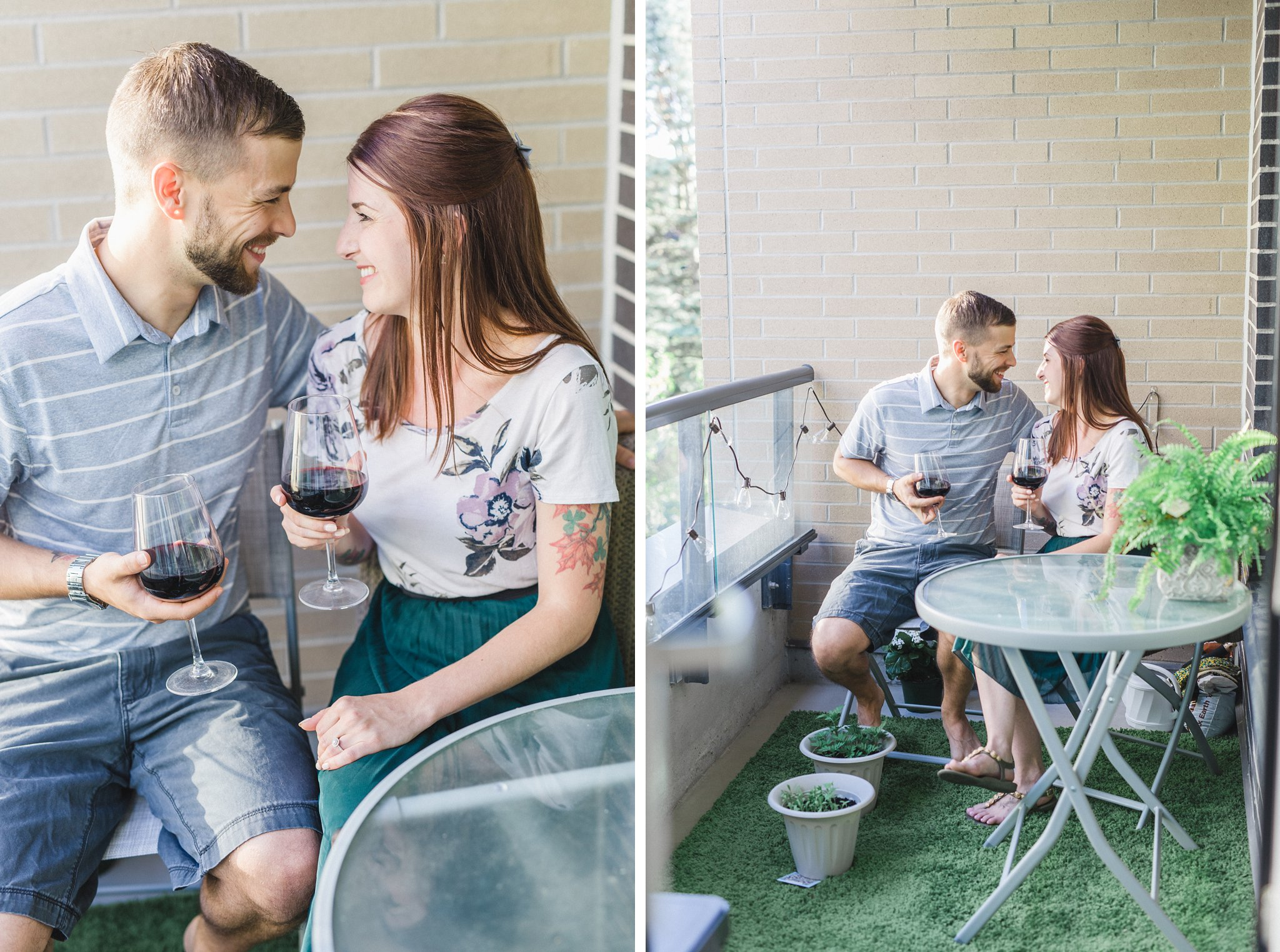 Patio drinks condo engagement photos Hintonburg Ottawa