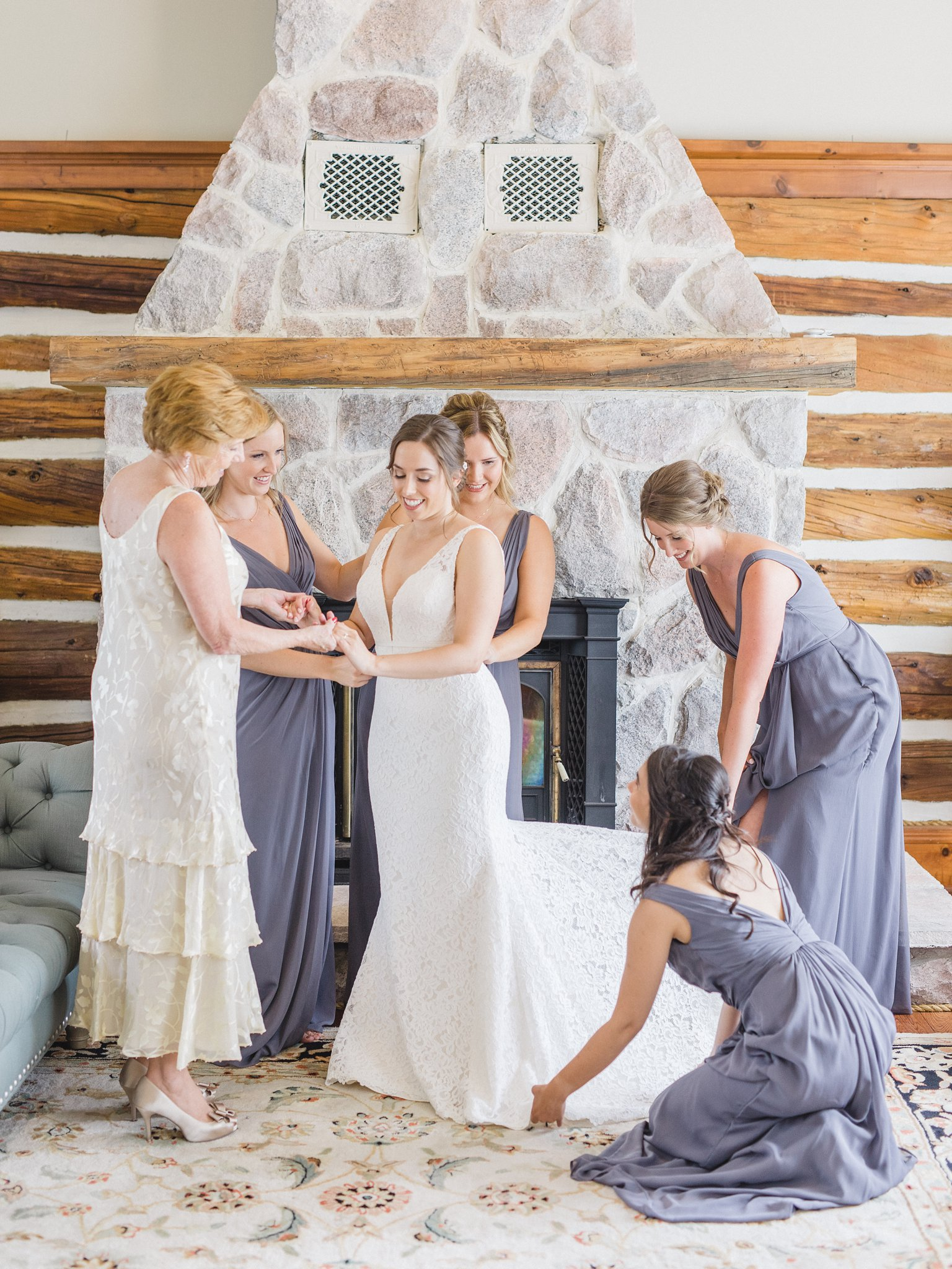 Mauve bridesmaid dress David's Bridal married at Stonefields, Amy Pinder Photography