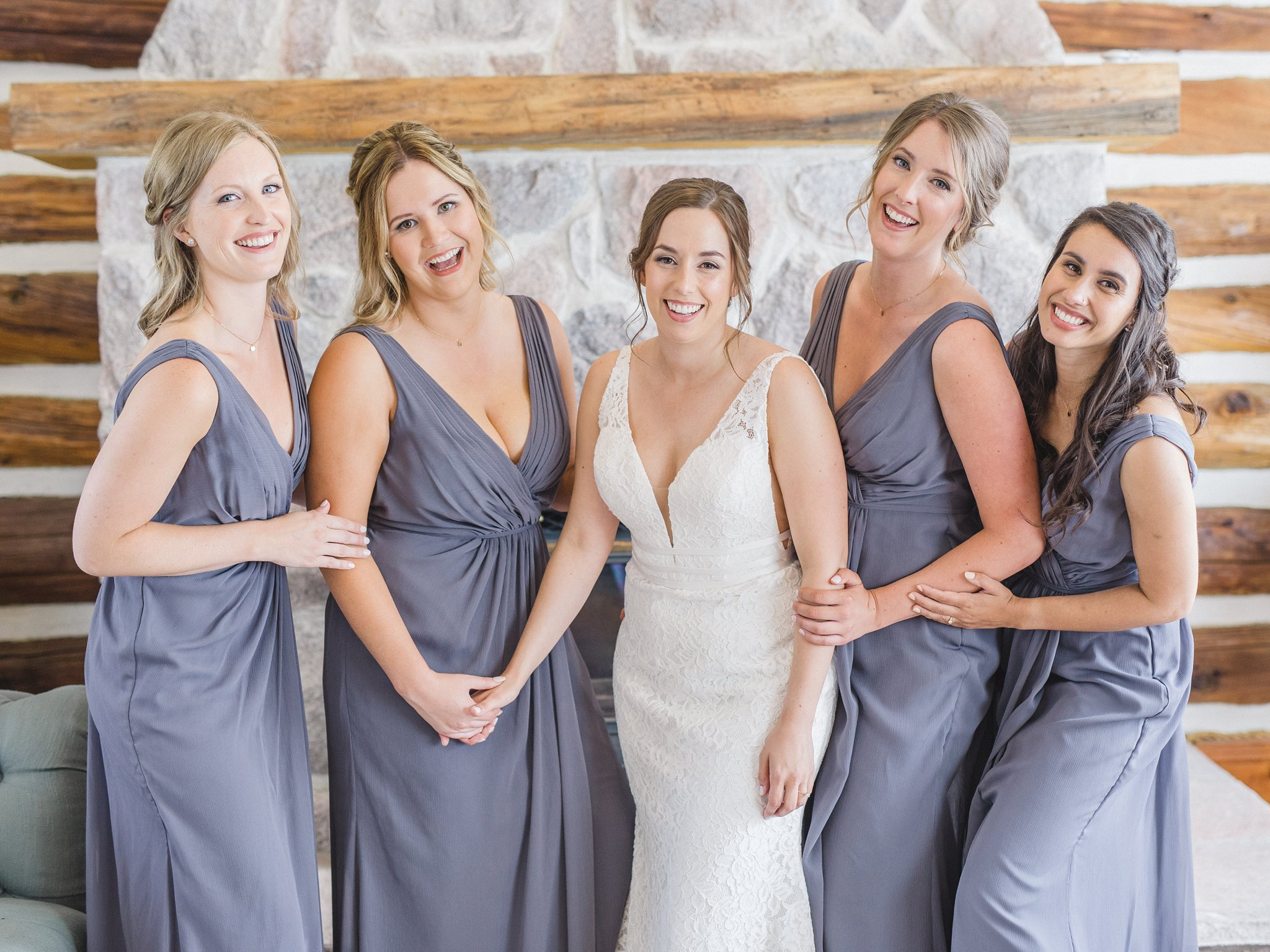 Bridesmaids goals at bride prep purple dresses married at Stonefields, Amy Pinder Photography