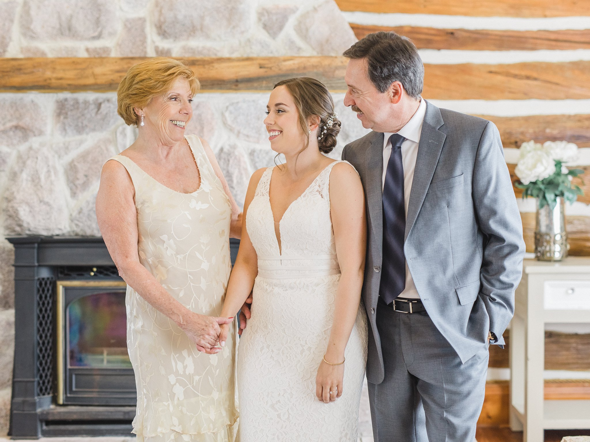 Bride with her parents married at Stonefields, Amy Pinder Photography
