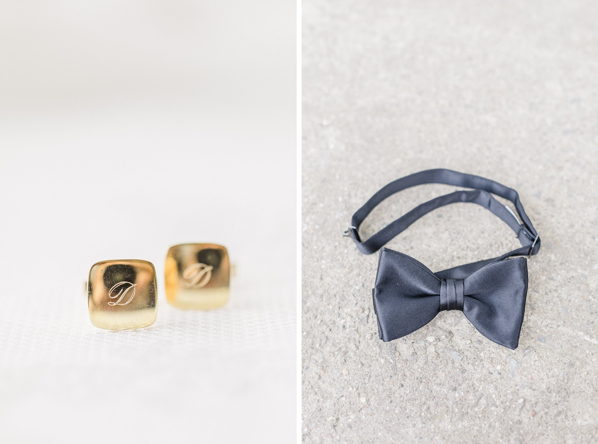 Vintage cufflinks classic black bowtie married at Stonefields, Amy Pinder Photography