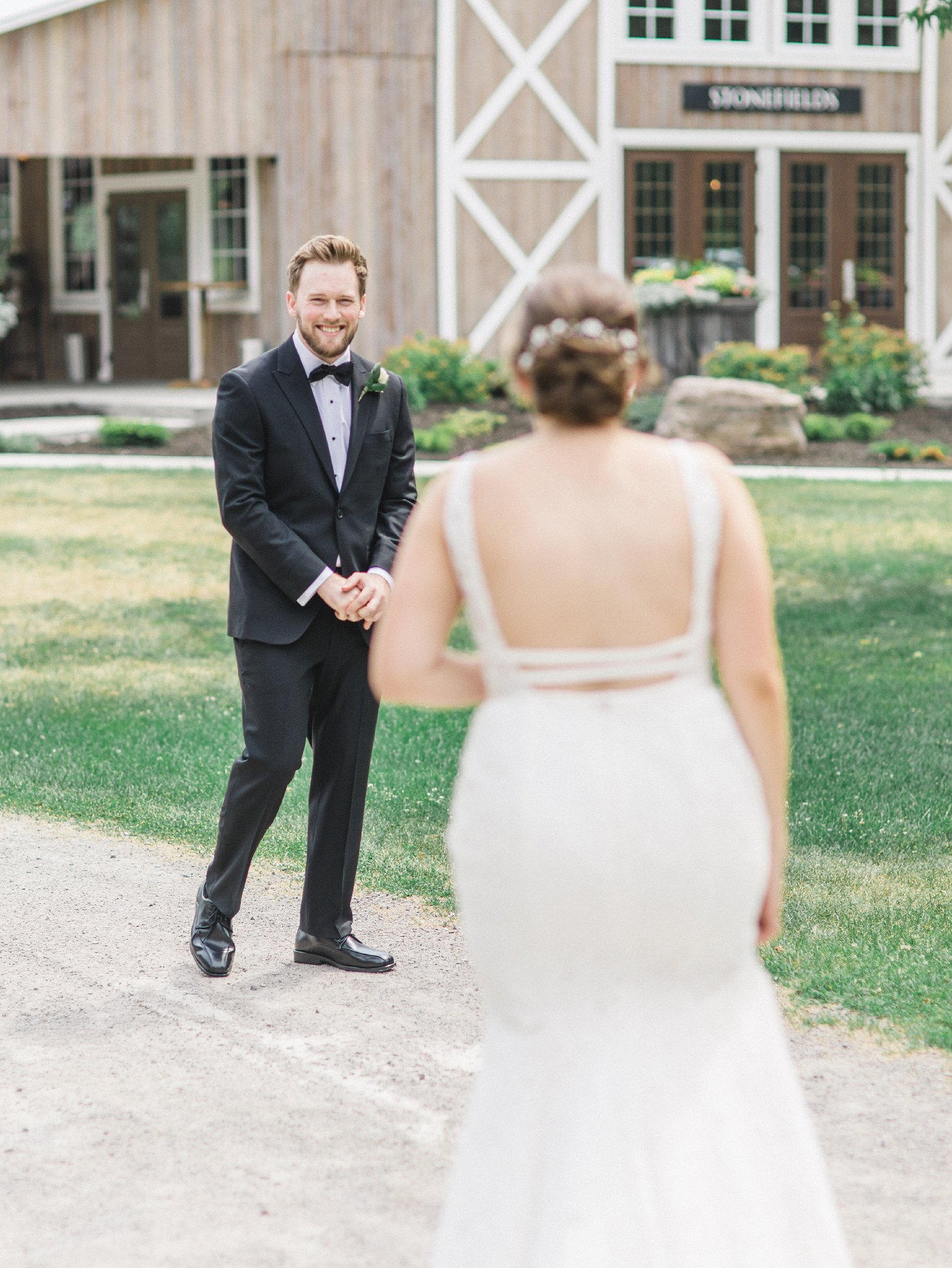 Grooms reaction to first look married at Stonefields, Amy Pinder Photography