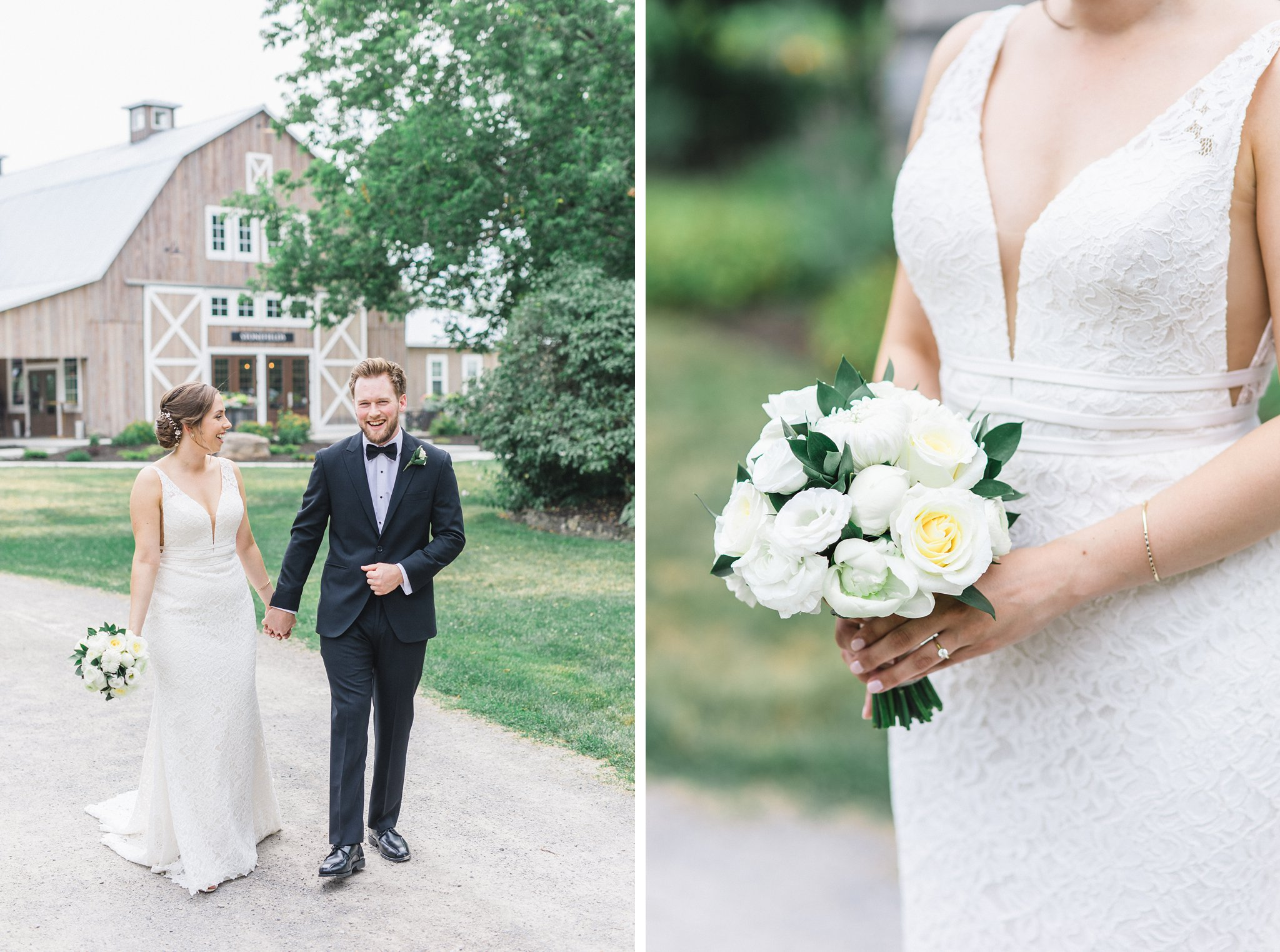 Classic white rose bouquet married at Stonefields, Amy Pinder Photography