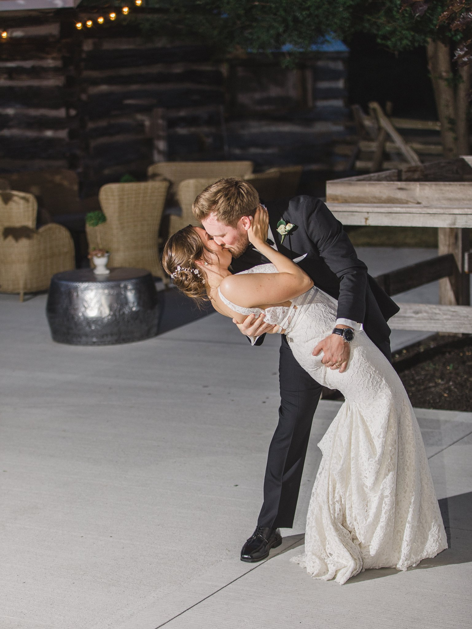 Groom dips his bride in first dance married at Stonefields, Amy Pinder Photography
