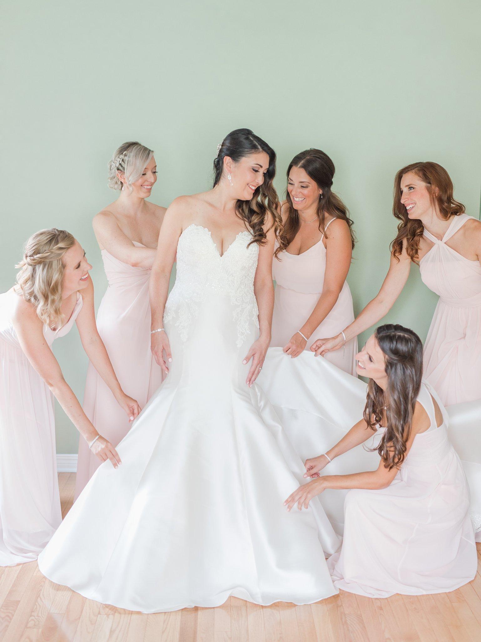 Bridesmaids at bride prep Horticulture Building wedding at Lansdowne Amy Pinder Photography