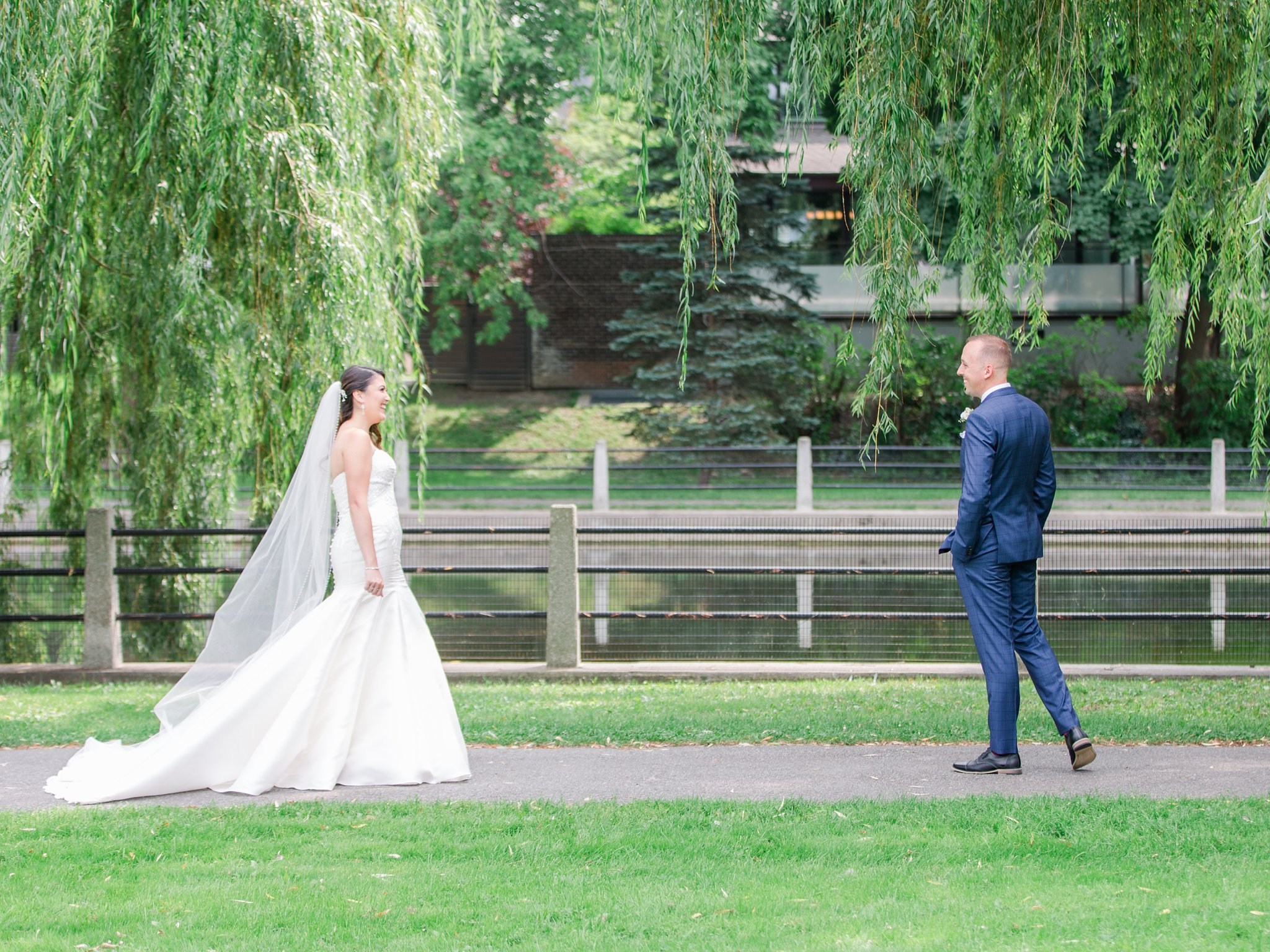First look at park near Horticulture Building wedding at Lansdowne Amy Pinder Photography