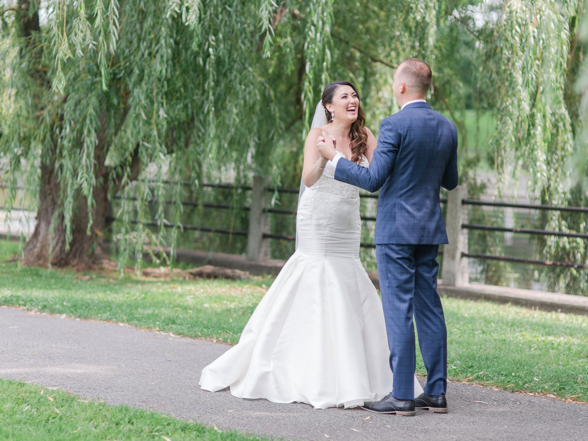 Bride's reaction to first look Horticulture Building wedding at Lansdowne Amy Pinder Photography