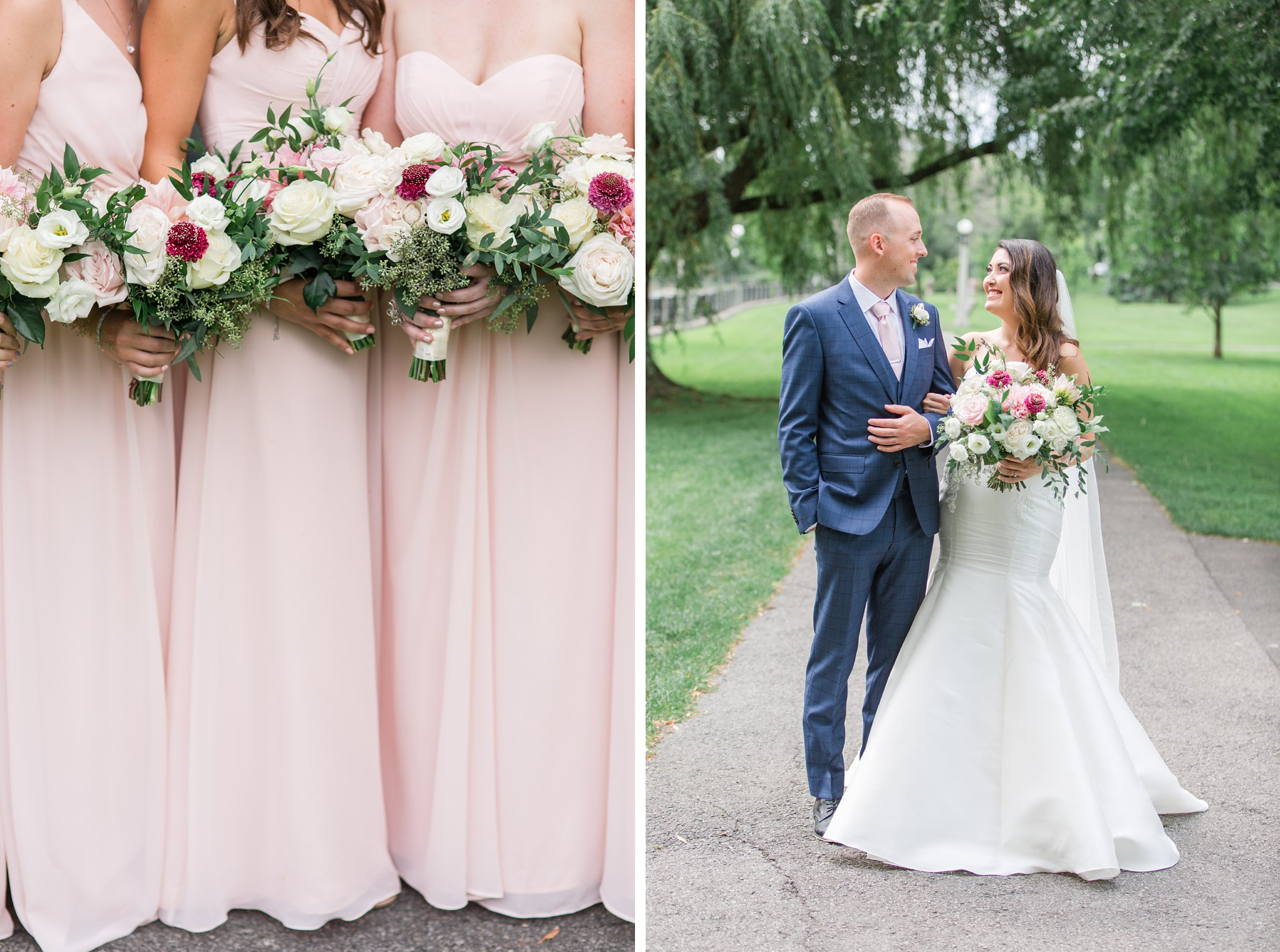 Blush bridesmaids dresses Horticulture Building wedding at Lansdowne Amy Pinder Photography