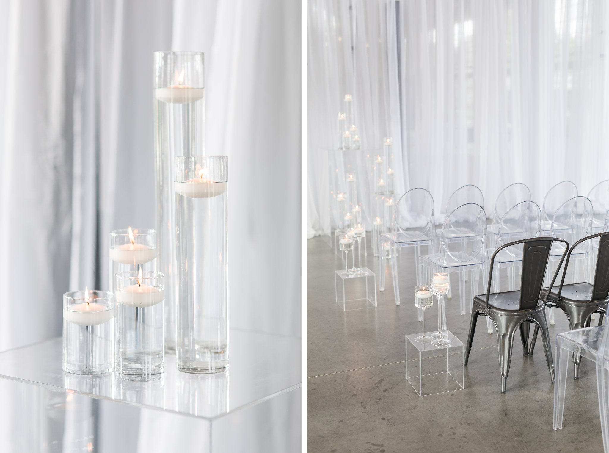 Industrial chairs floating candles Horticulture Building wedding at Lansdowne Amy Pinder Photography