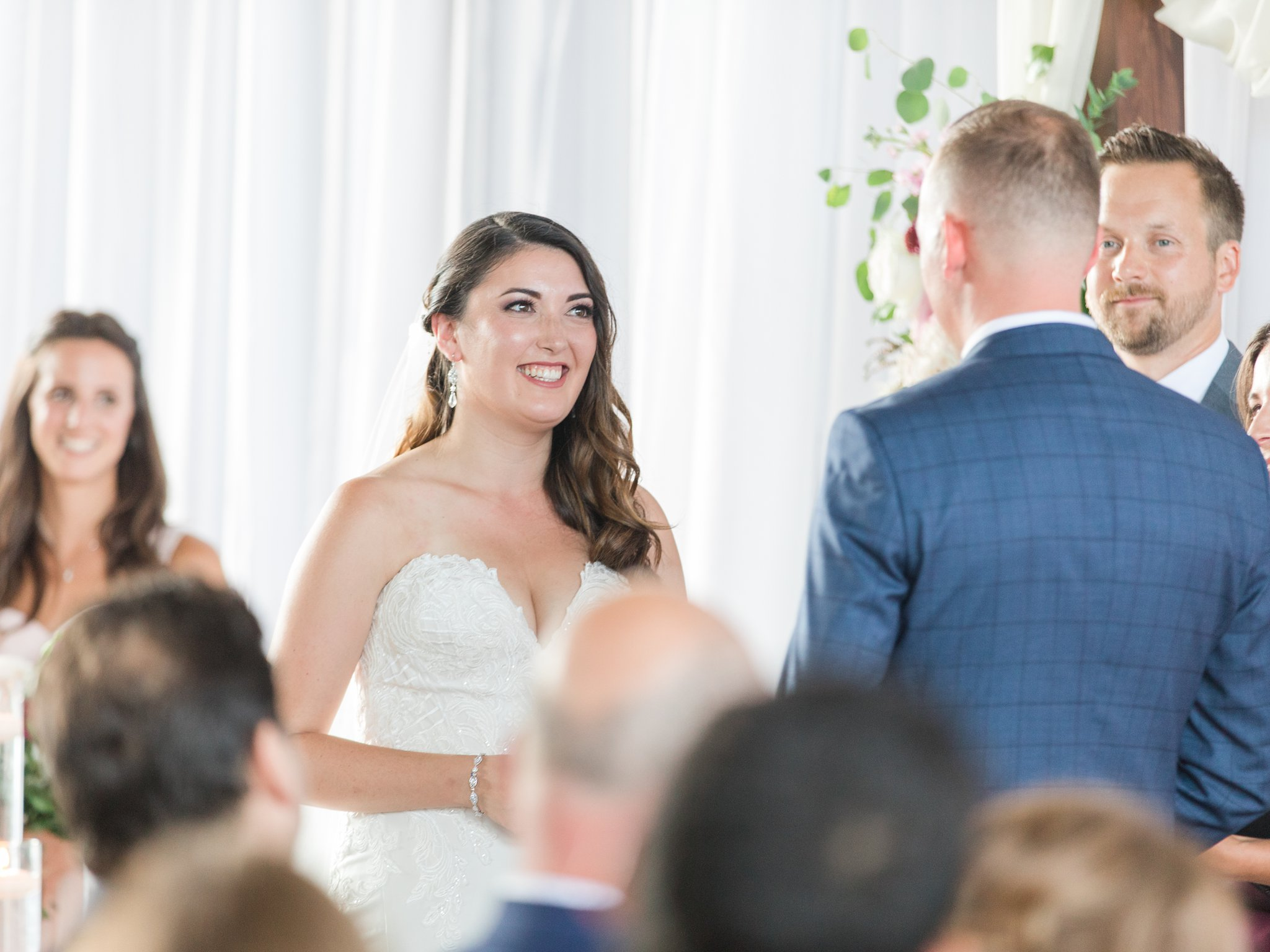Happy bride at ceremony Horticulture Building wedding at Lansdowne Amy Pinder Photography