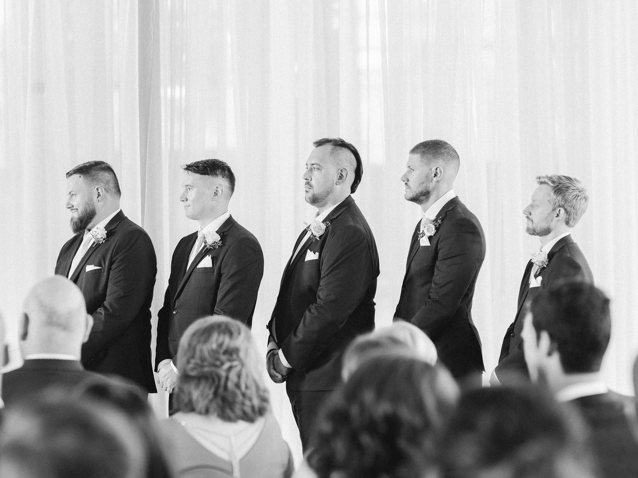 Groomsmen at ceremony Horticulture Building wedding at Lansdowne Amy Pinder Photography