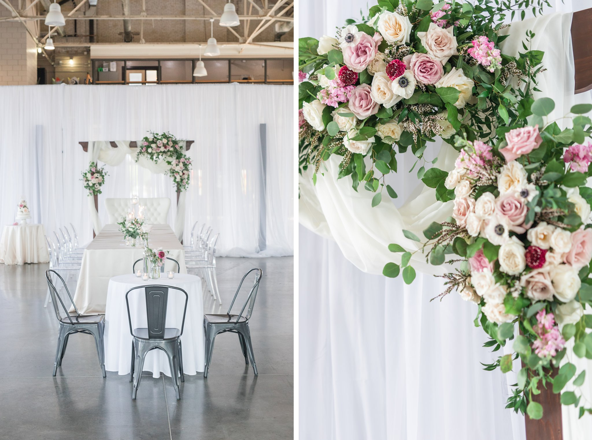 Modern industrial chairs Horticulture Building wedding at Lansdowne Amy Pinder Photography