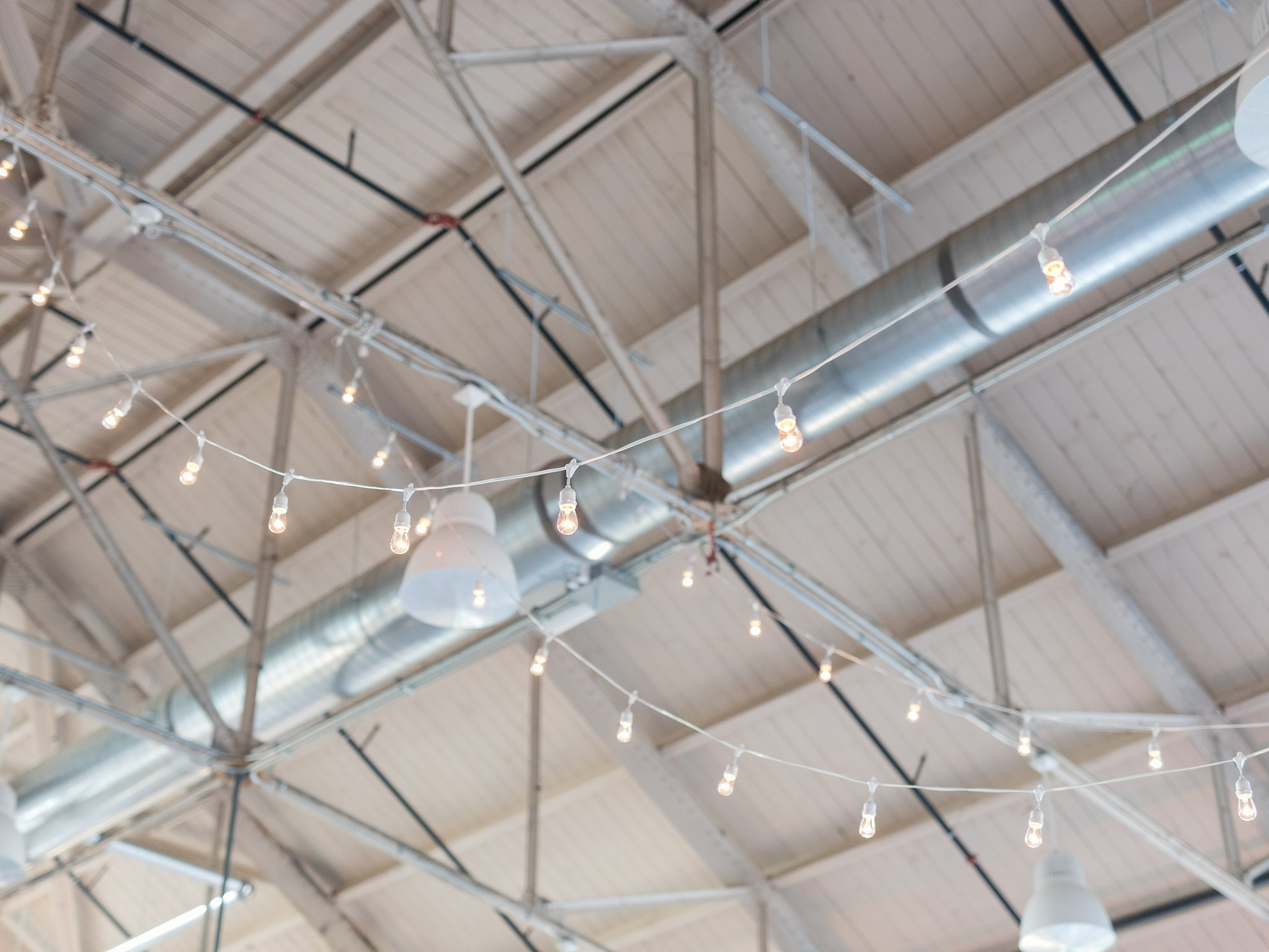 Edison bulbs on gabled industrial roof Horticulture Building wedding at Lansdowne Amy Pinder Photography