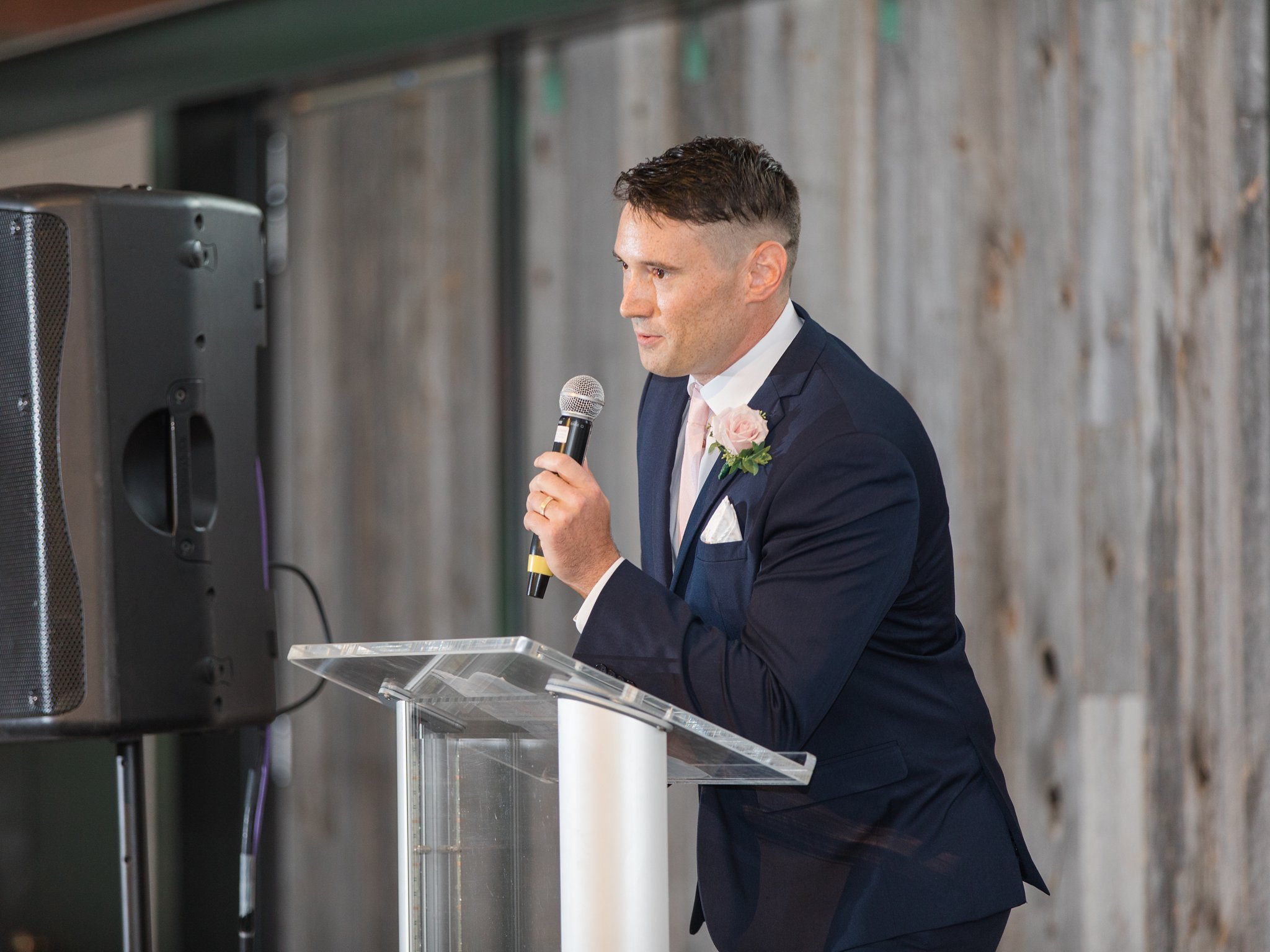 Funny MC during reception Horticulture Building wedding at Lansdowne Amy Pinder Photography