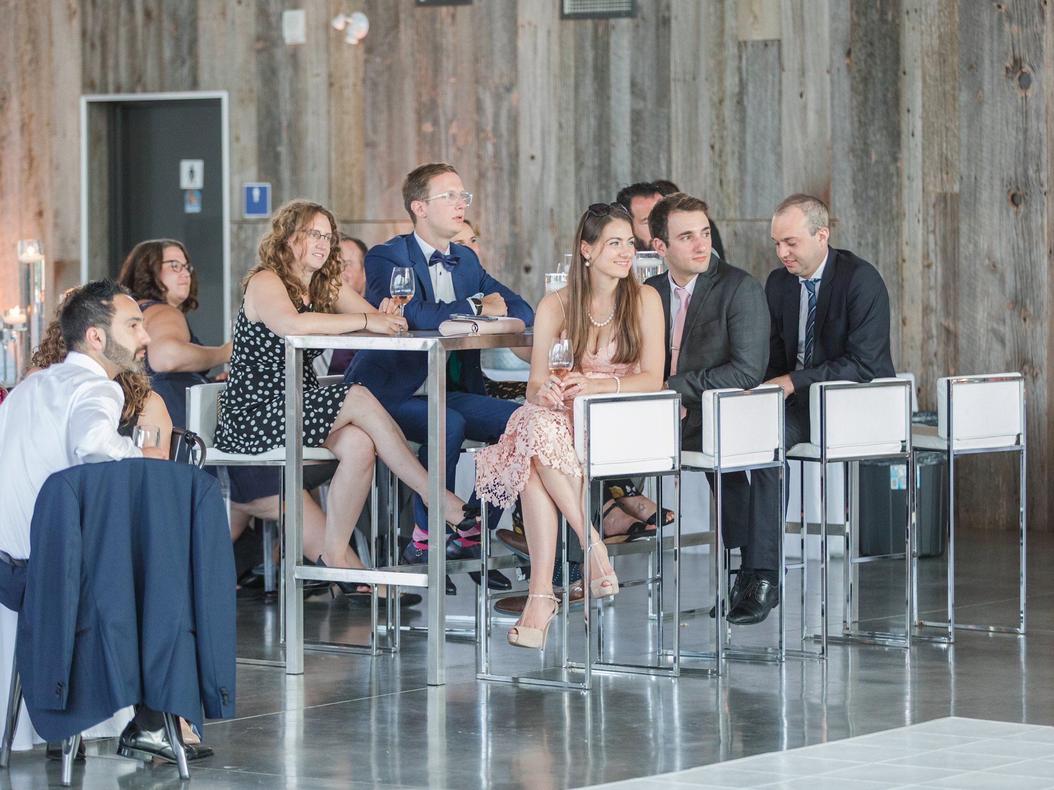 Lounge high top seating Horticulture Building wedding at Lansdowne Amy Pinder Photography