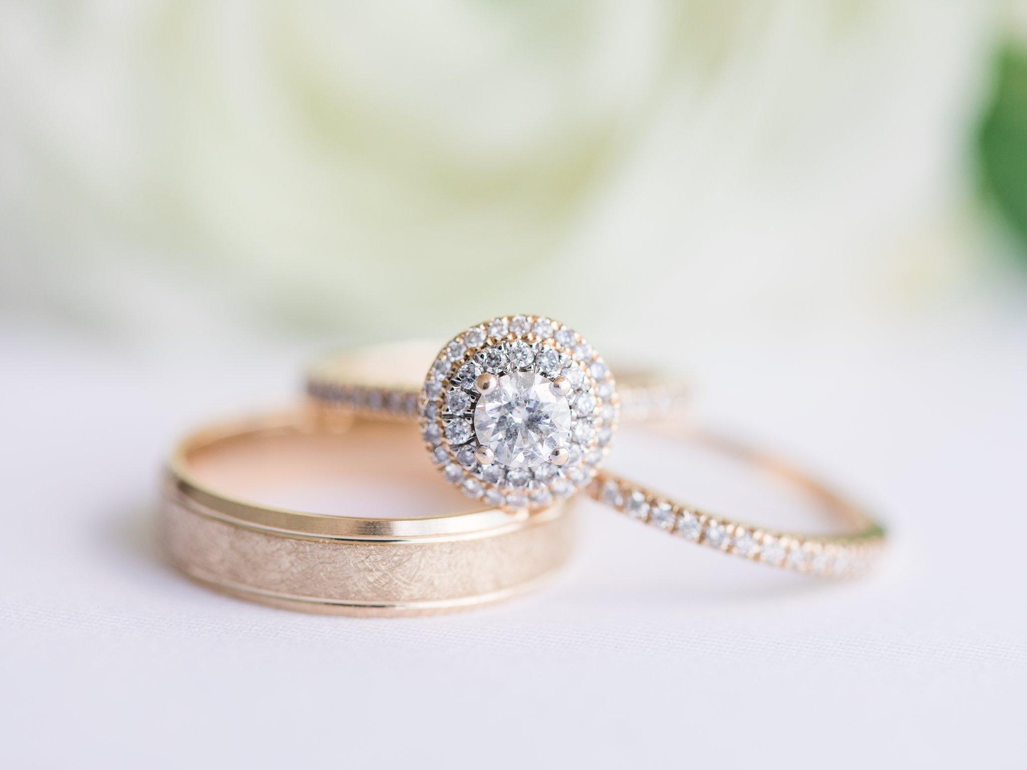 Yellow gold double halo ring People's Vineyard wedding at Jabulani Amy Pinder Photography