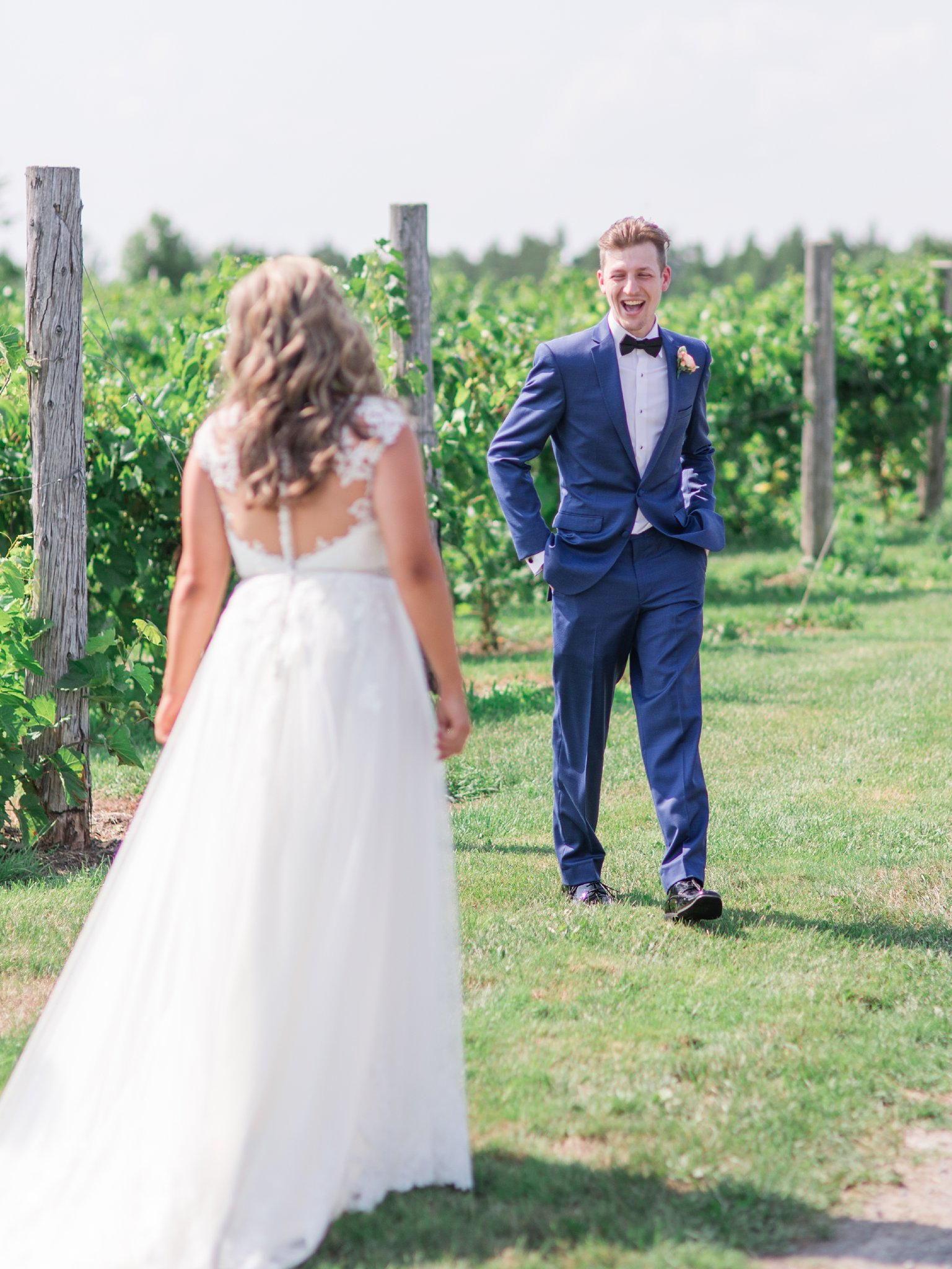 Groom's reaction to first look Vineyard wedding at Jabulani Amy Pinder Photography
