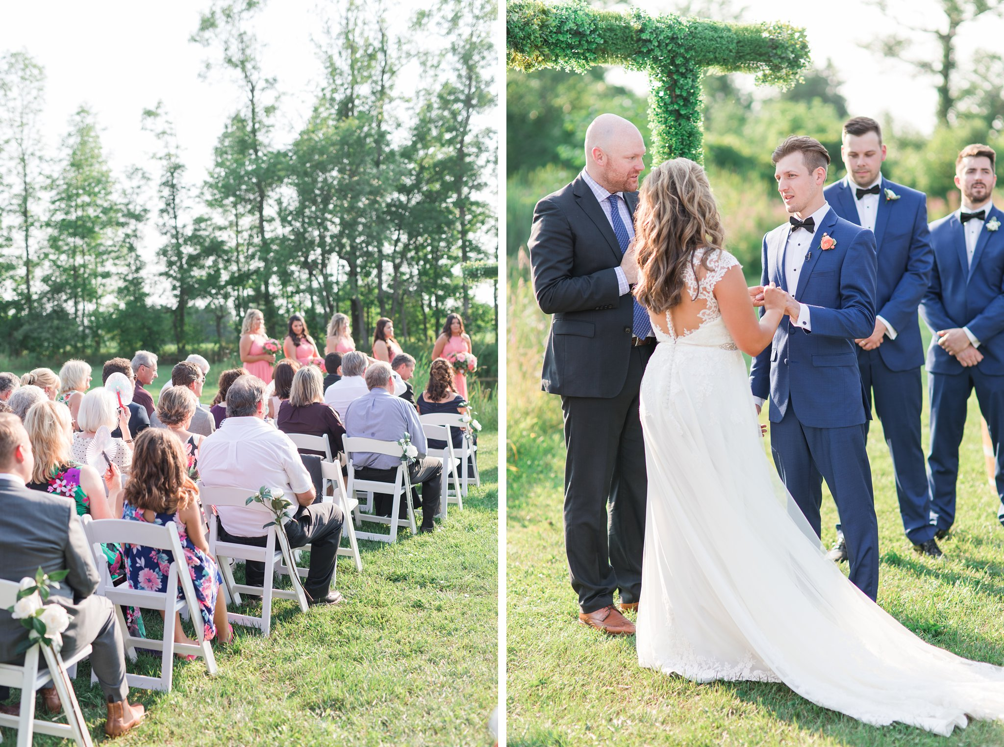 White ceremony chairs Vineyard wedding at Jabulani Amy Pinder Photography
