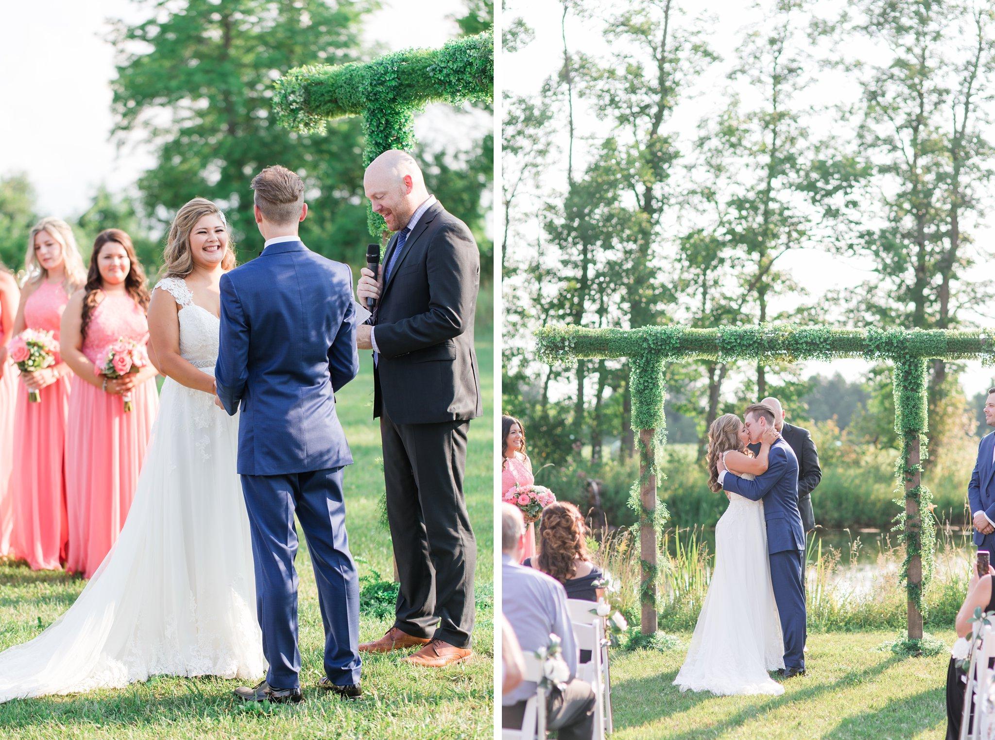 first kiss by the pond Vineyard wedding at Jabulani Amy Pinder Photography